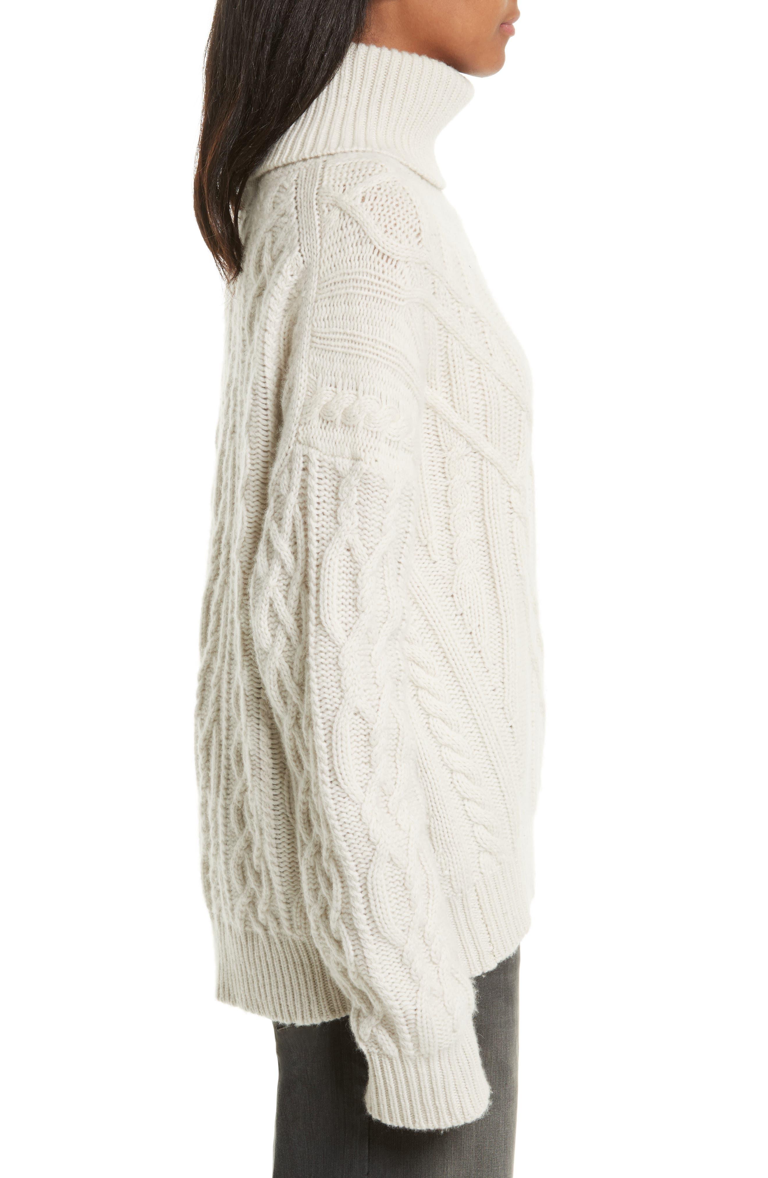 Cecil Cable Knit Cashmere Turtleneck Sweater,                             Alternate thumbnail 3, color,                             902