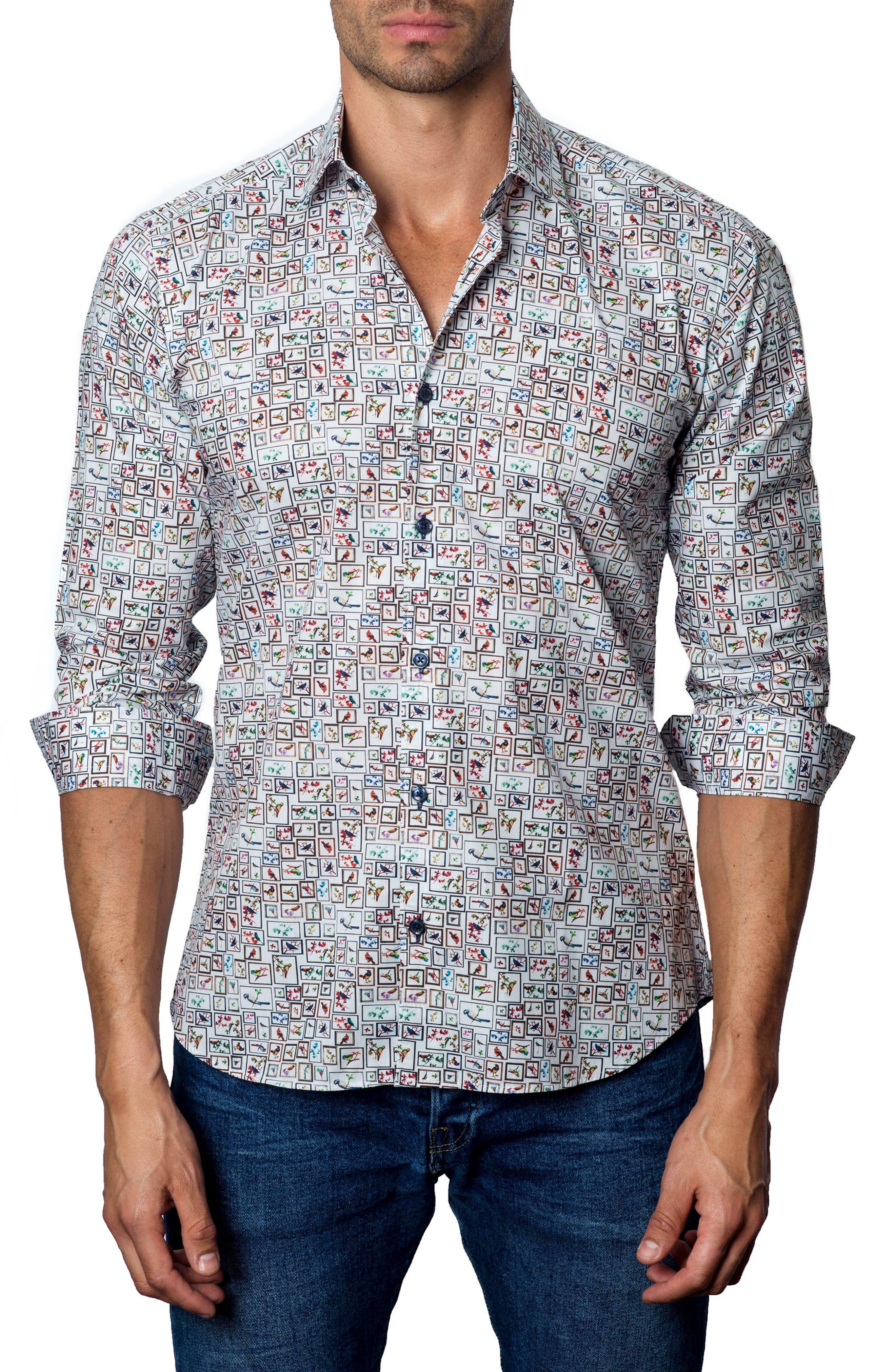 Trim Fit Check Sport Shirt,                         Main,                         color, 100