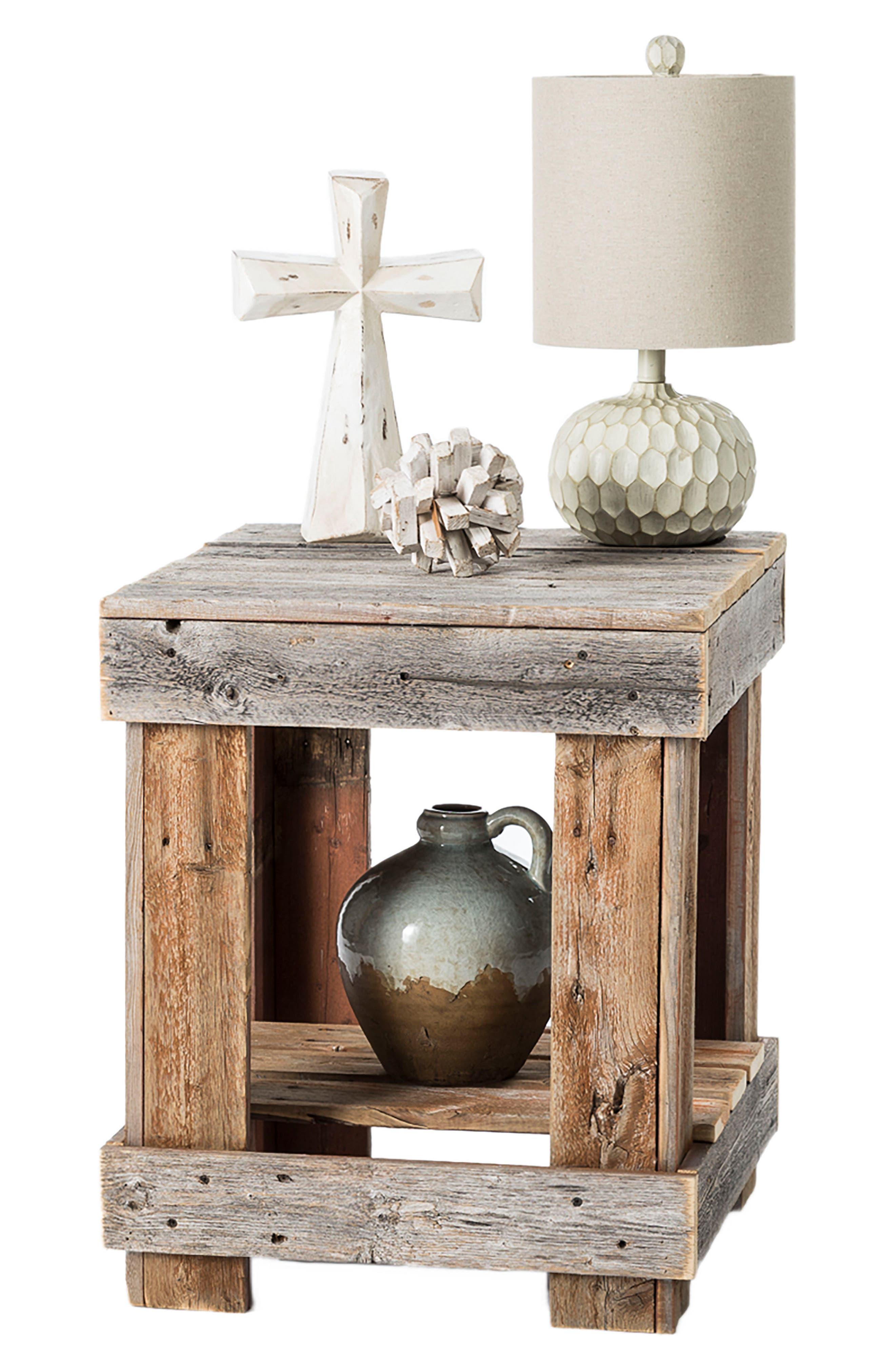Repurposed Barnwood End Table,                             Alternate thumbnail 2, color,                             200