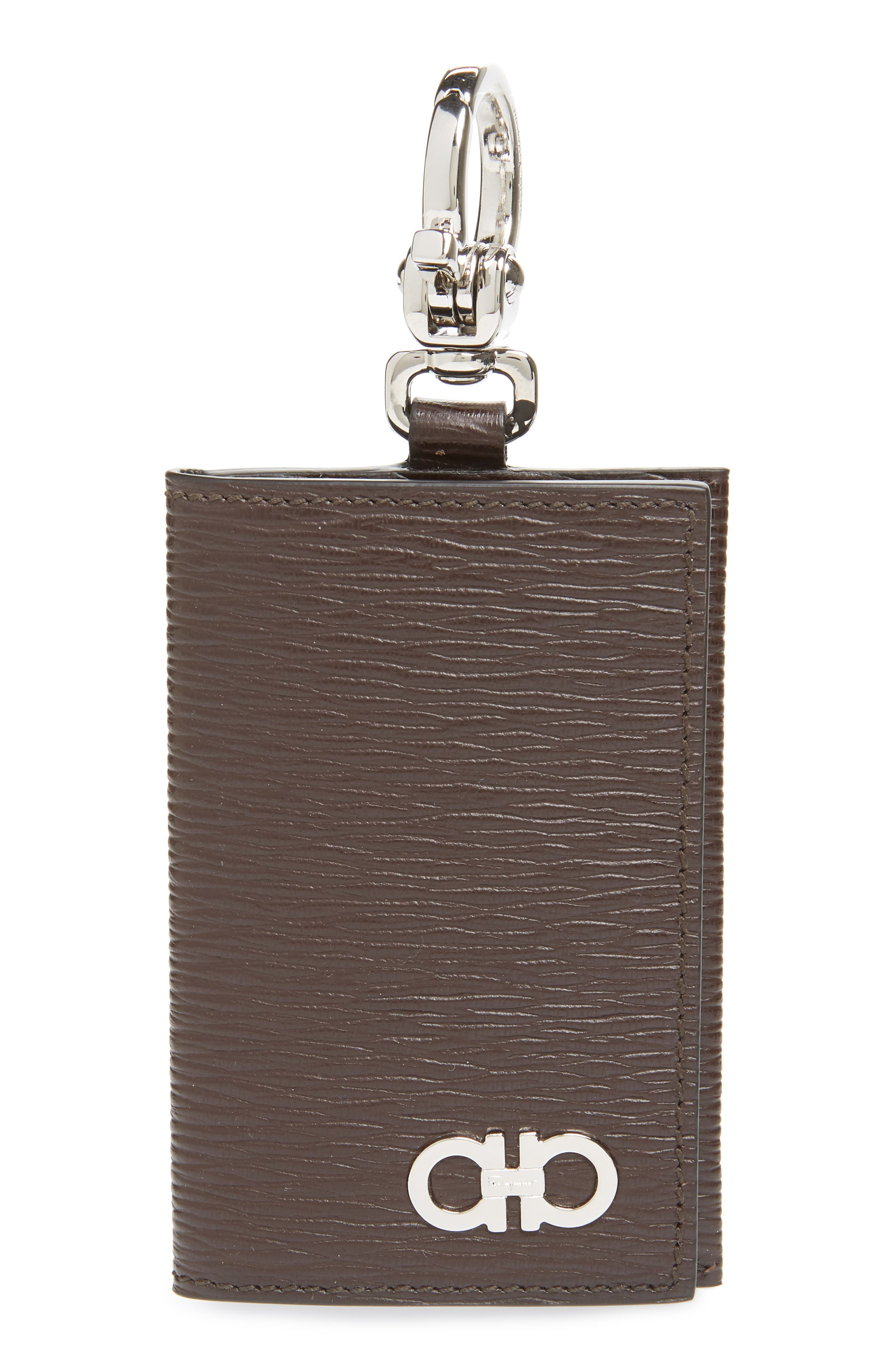 Revival Leather Key Ring Card Case,                             Main thumbnail 1, color,                             TOBACCO/ BLUE MARINE