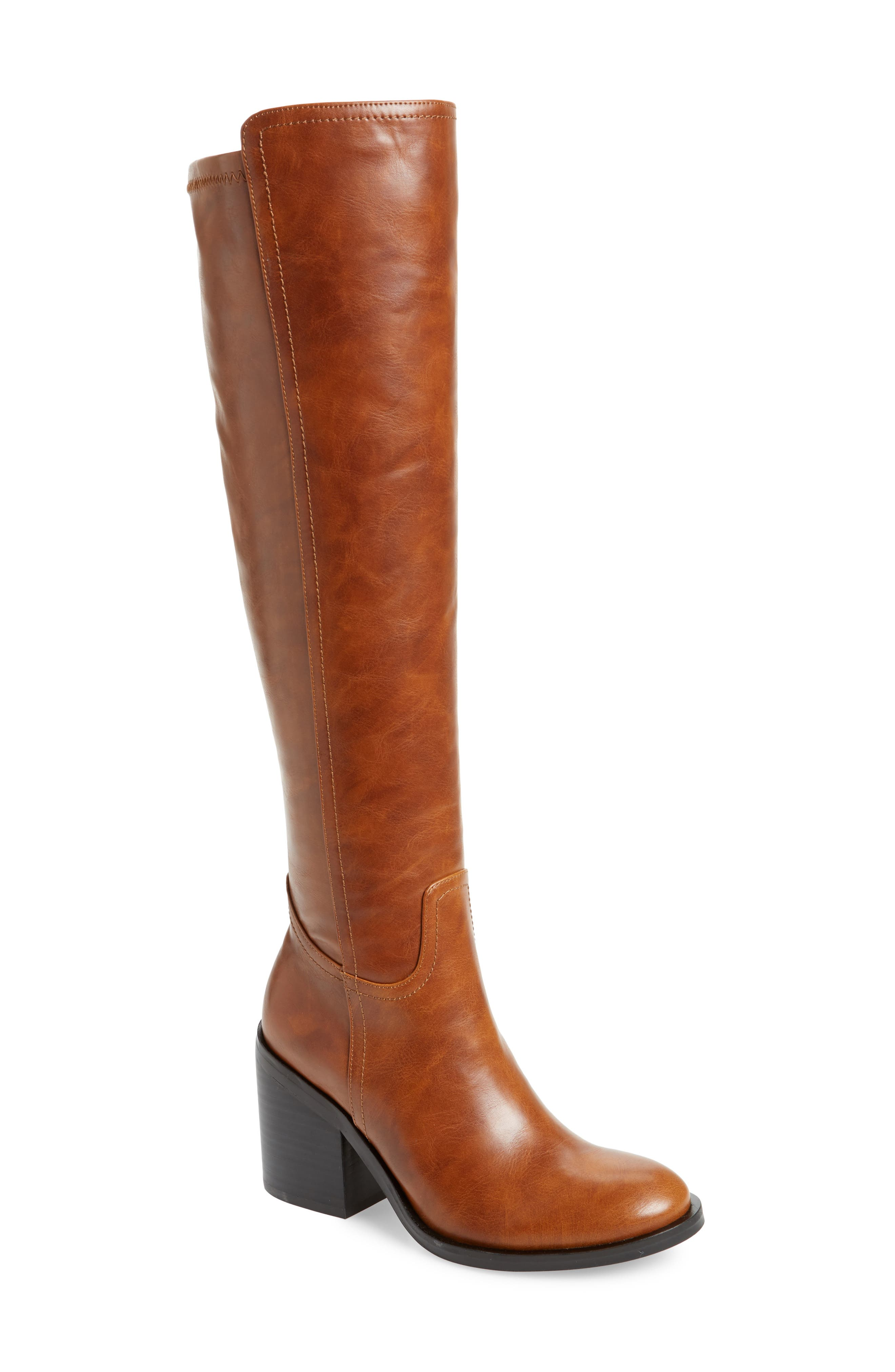 JEFFREY CAMPBELL Woodvale Over The Knee Boot in Brown Faux Leather