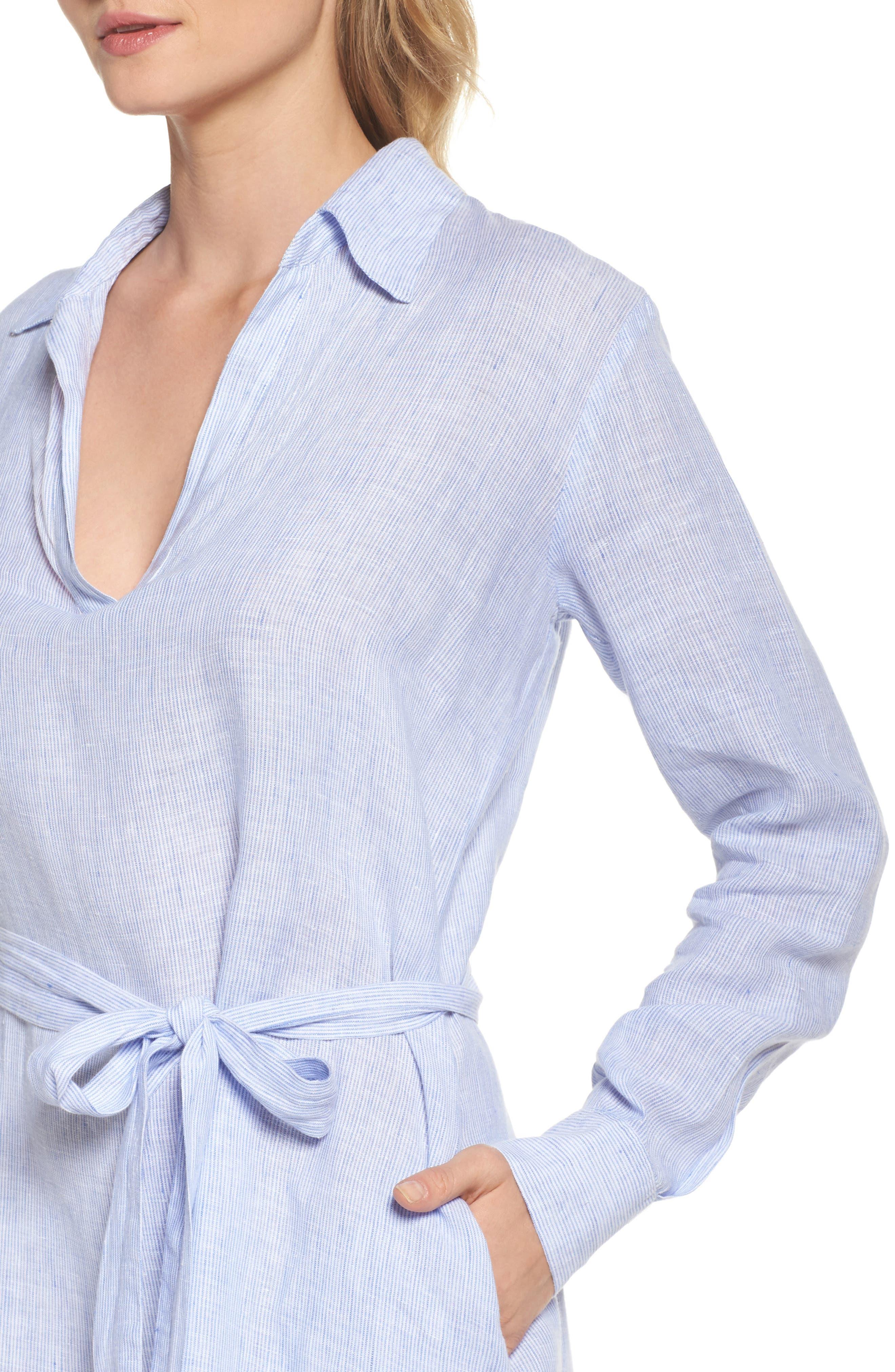Linen Shirtdress,                             Alternate thumbnail 4, color,                             400