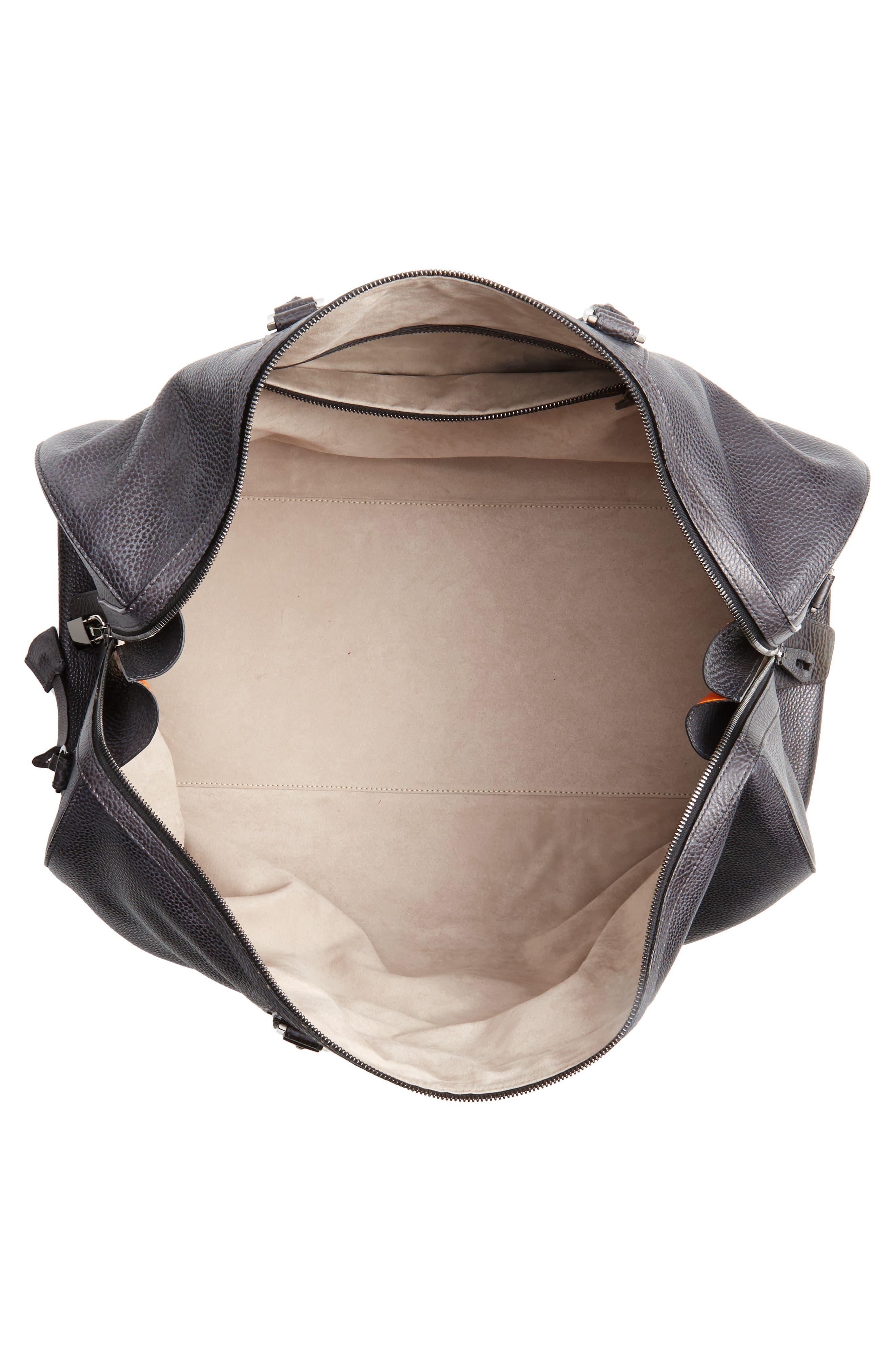 Traveler Leather Duffel Bag,                             Alternate thumbnail 4, color,                             020