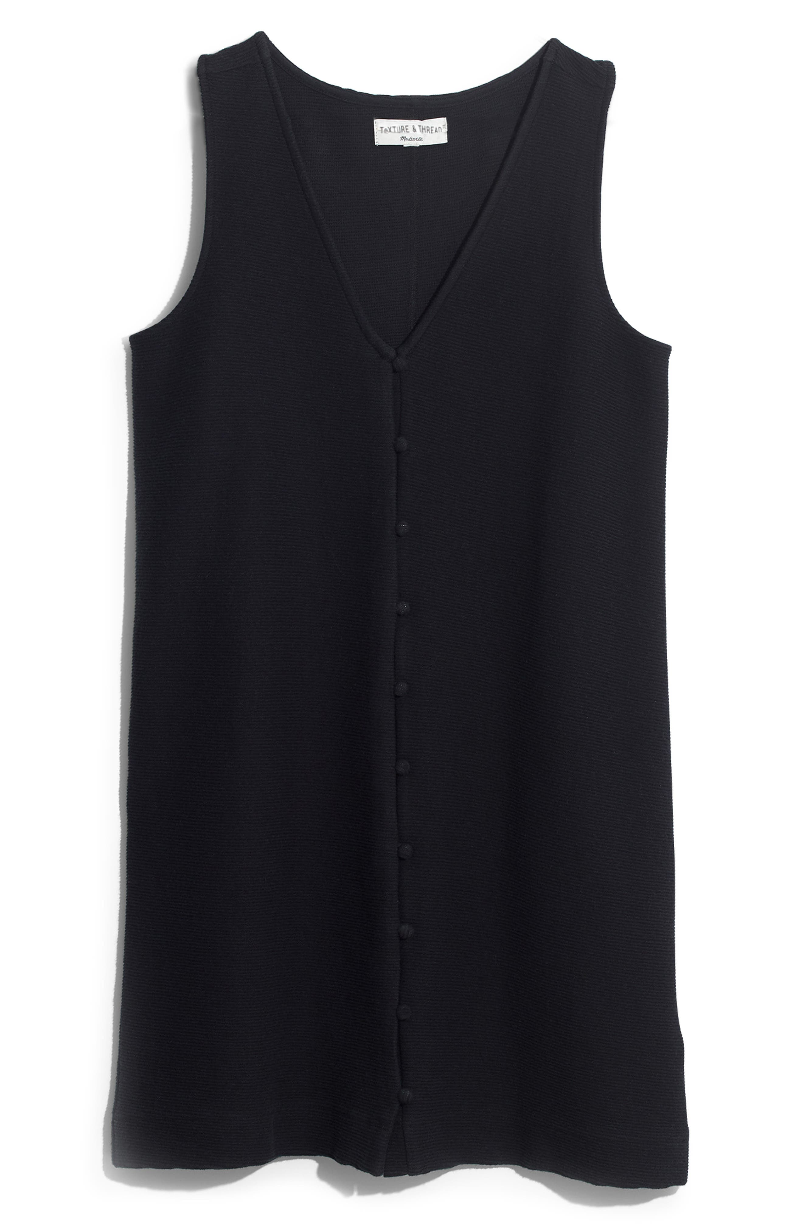 Madewell Texture & Thread Button Front Tank Dress, Black