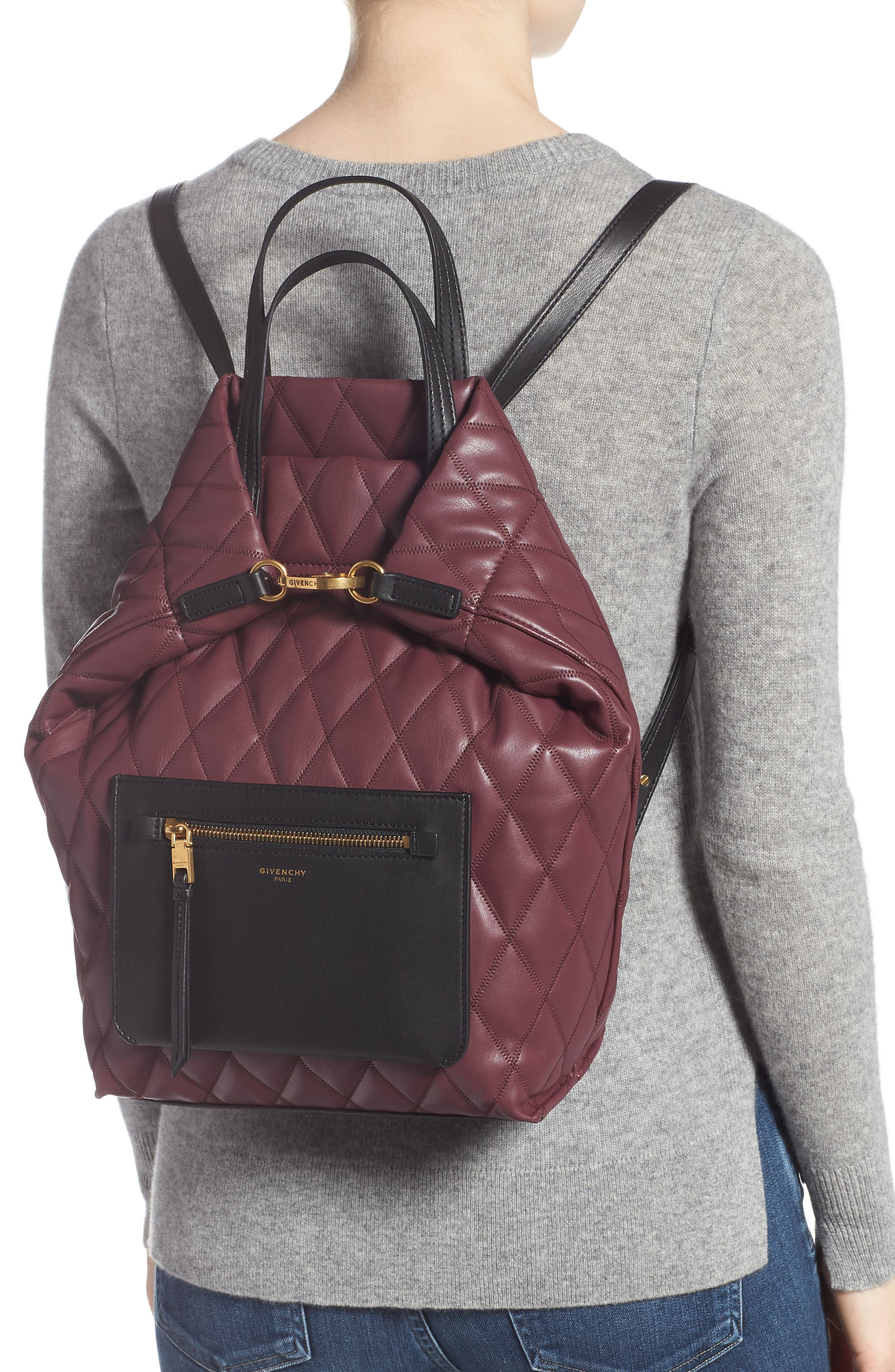 Duo Quilted Faux Leather Backpack,                             Alternate thumbnail 2, color,                             AUBERGINE