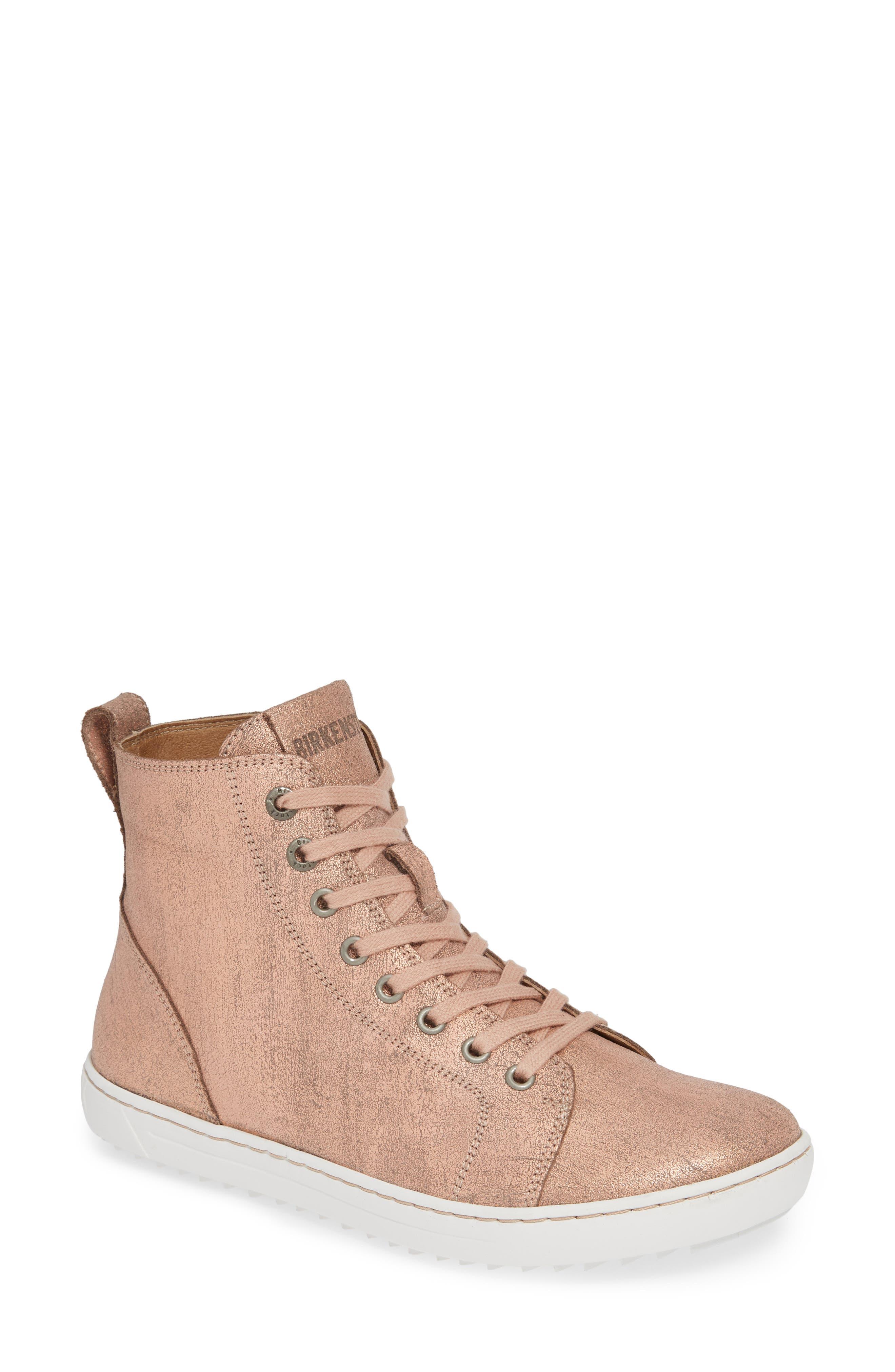 Bartlett High Top Sneaker,                             Main thumbnail 1, color,                             METALLIC ROSE LEATHER