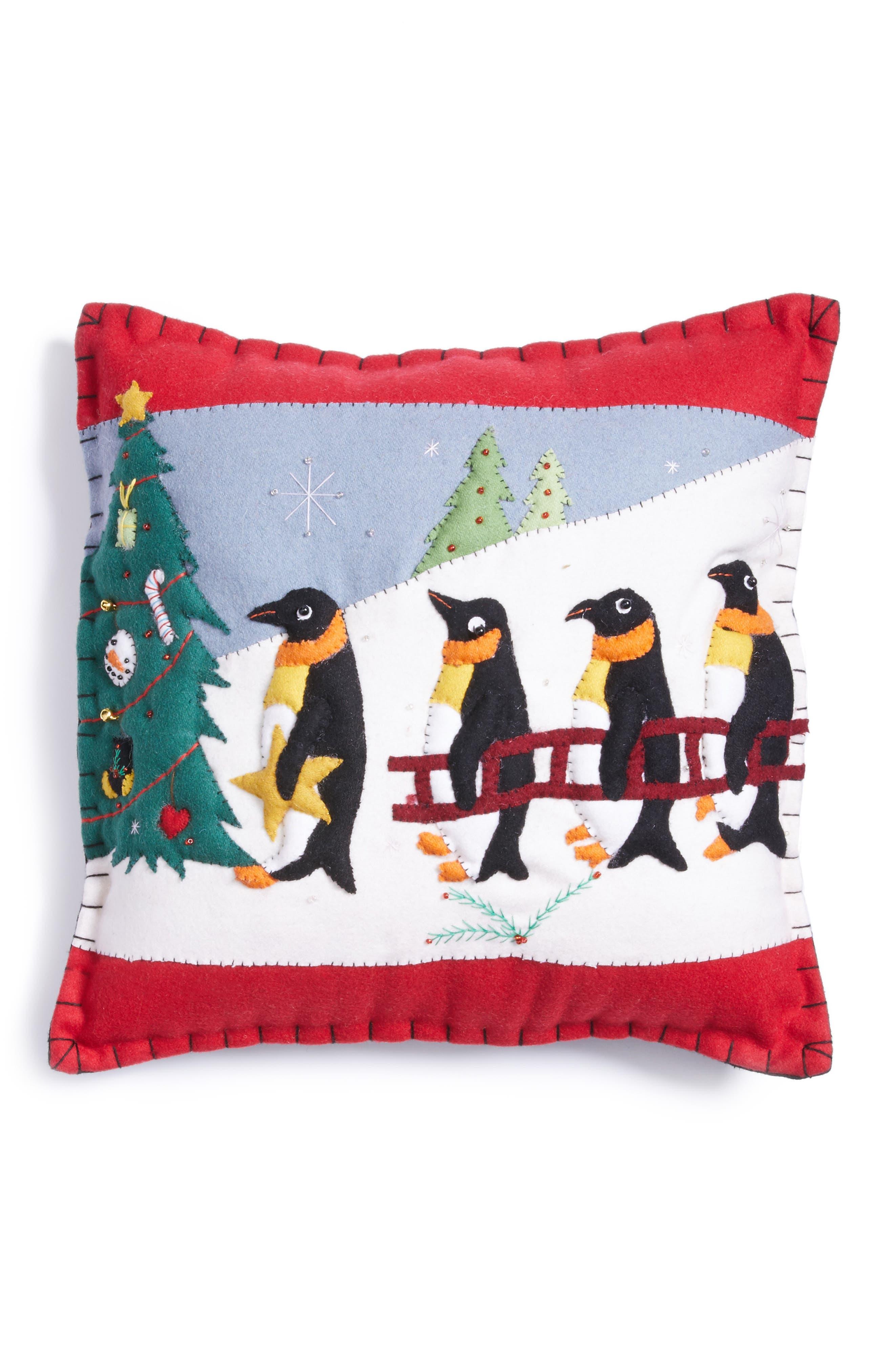 Penguin Pillow,                             Main thumbnail 1, color,                             BLACK