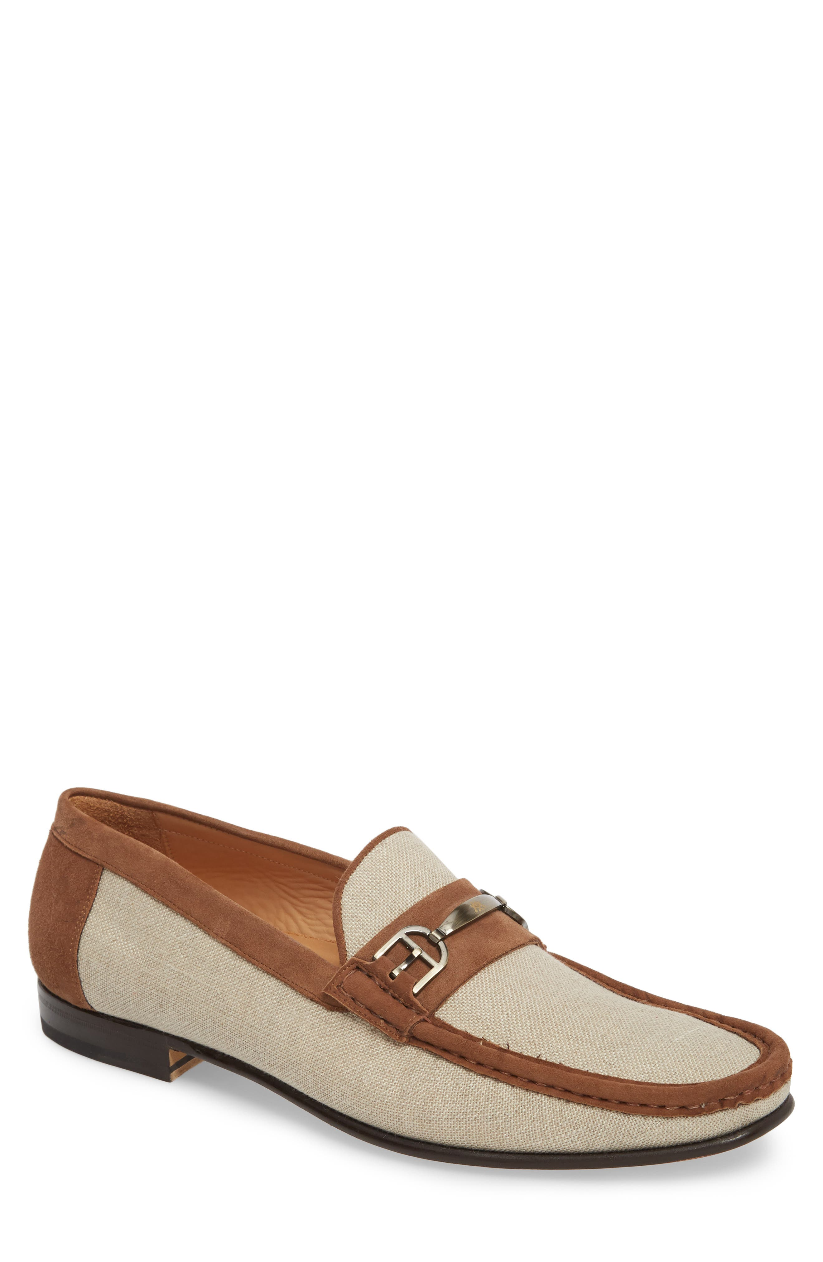 Jason Two-Tone Bit Loafer,                             Main thumbnail 1, color,                             BONE/ COGNAC LINEN/ SUEDE