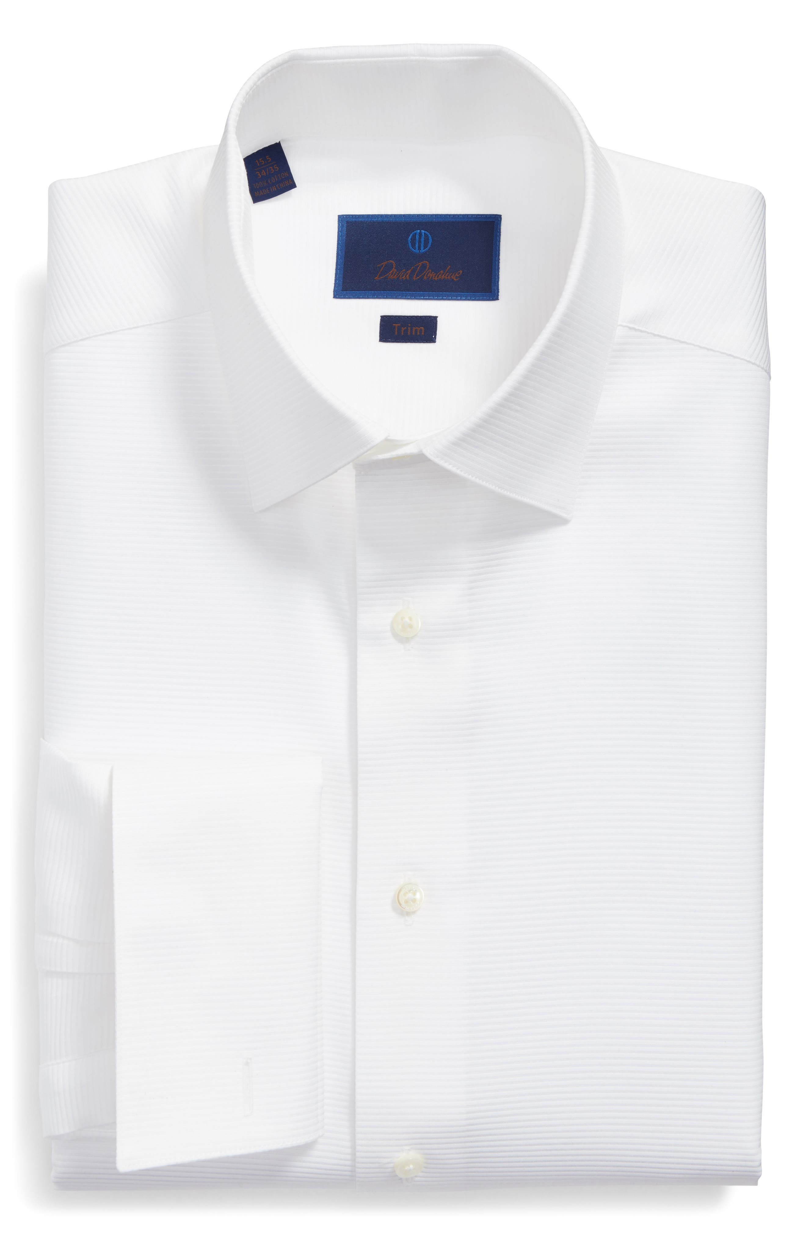 Trim Fit Twill French Cuff Tuxedo Shirt,                             Alternate thumbnail 5, color,                             SOLID WHITE