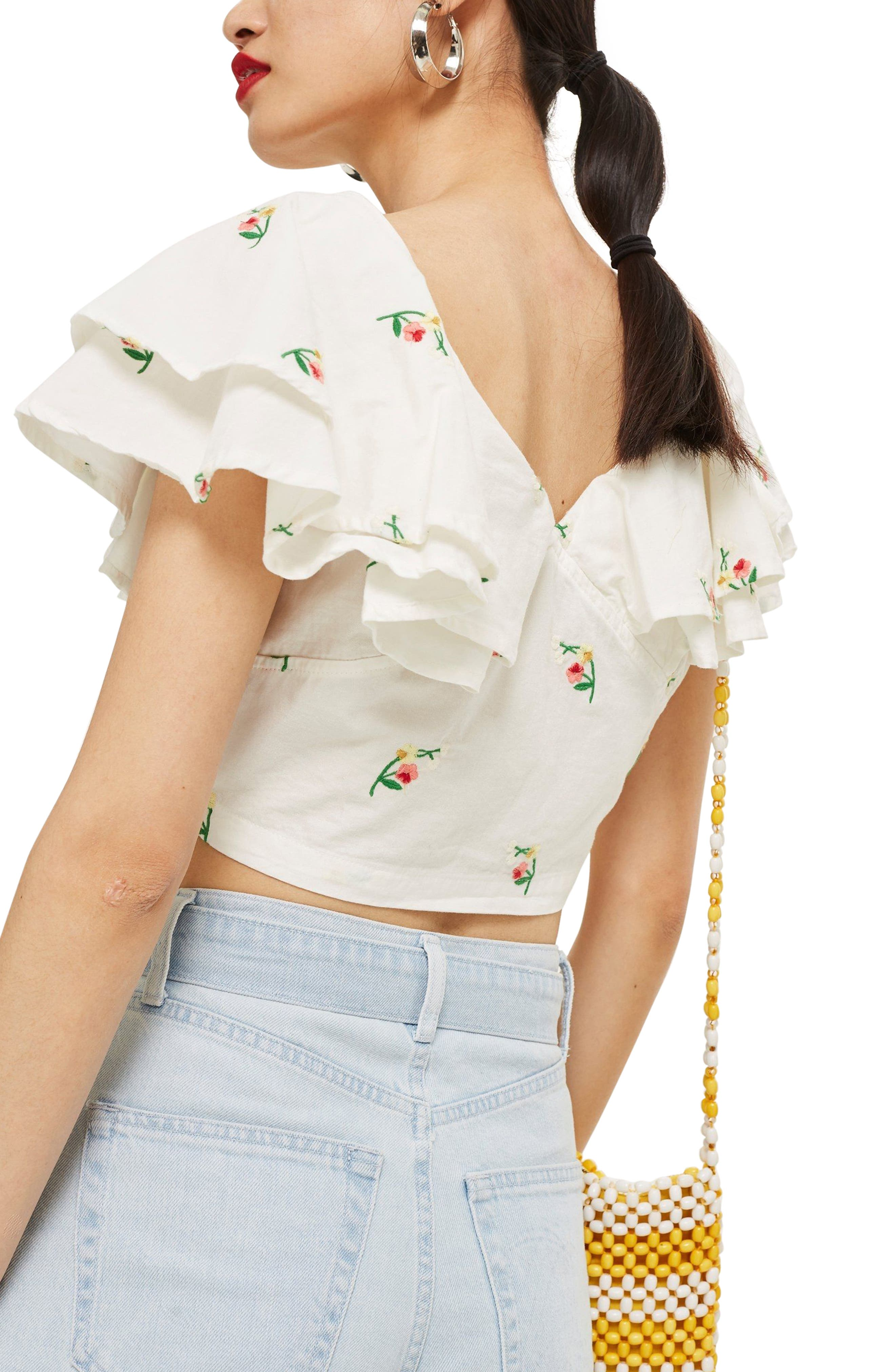 Embroidered Frill Crop Top,                             Alternate thumbnail 2, color,                             900