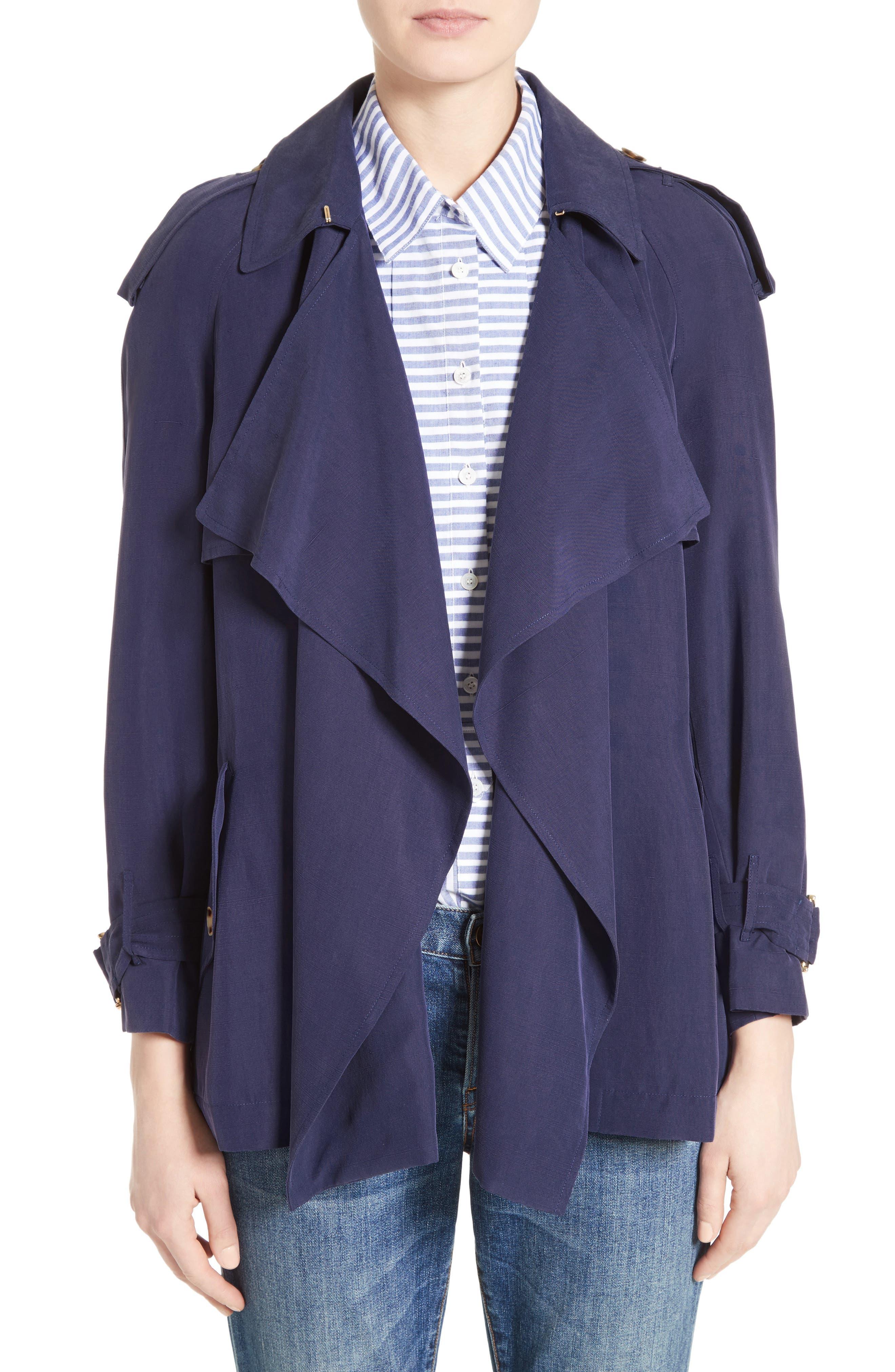 Sanbridge Silk Wrap Coat,                             Main thumbnail 1, color,                             410