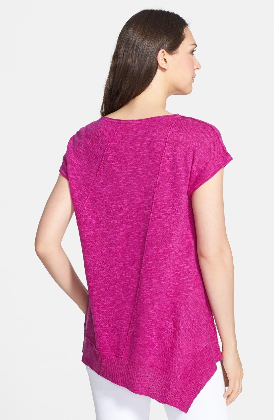 Cap Sleeve Organic Linen & Cotton Scoop Neck Top,                             Alternate thumbnail 35, color,