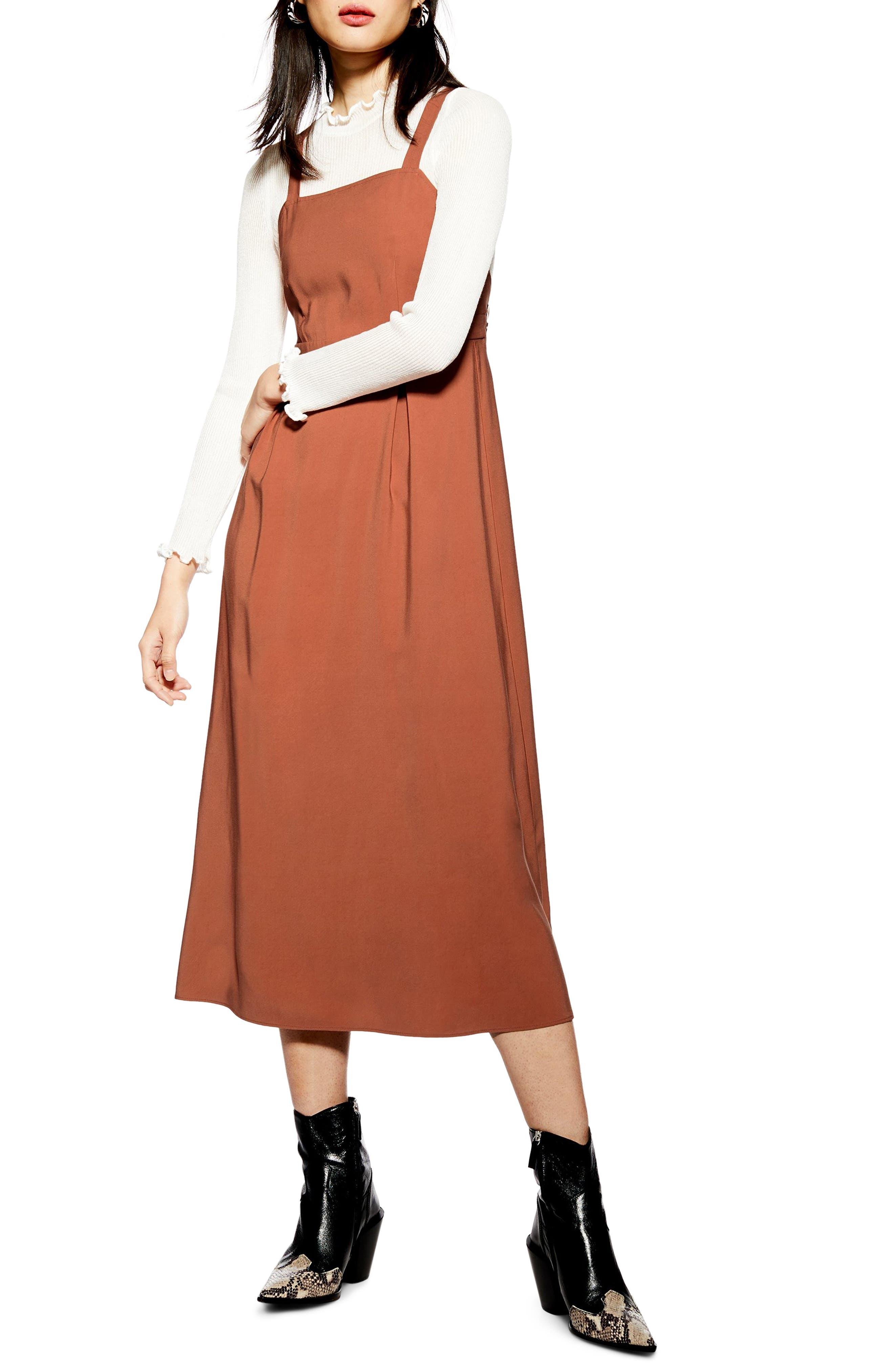 Topshop Tilda Pinafore Midi Dress, US (fits like 2-4) - Brown