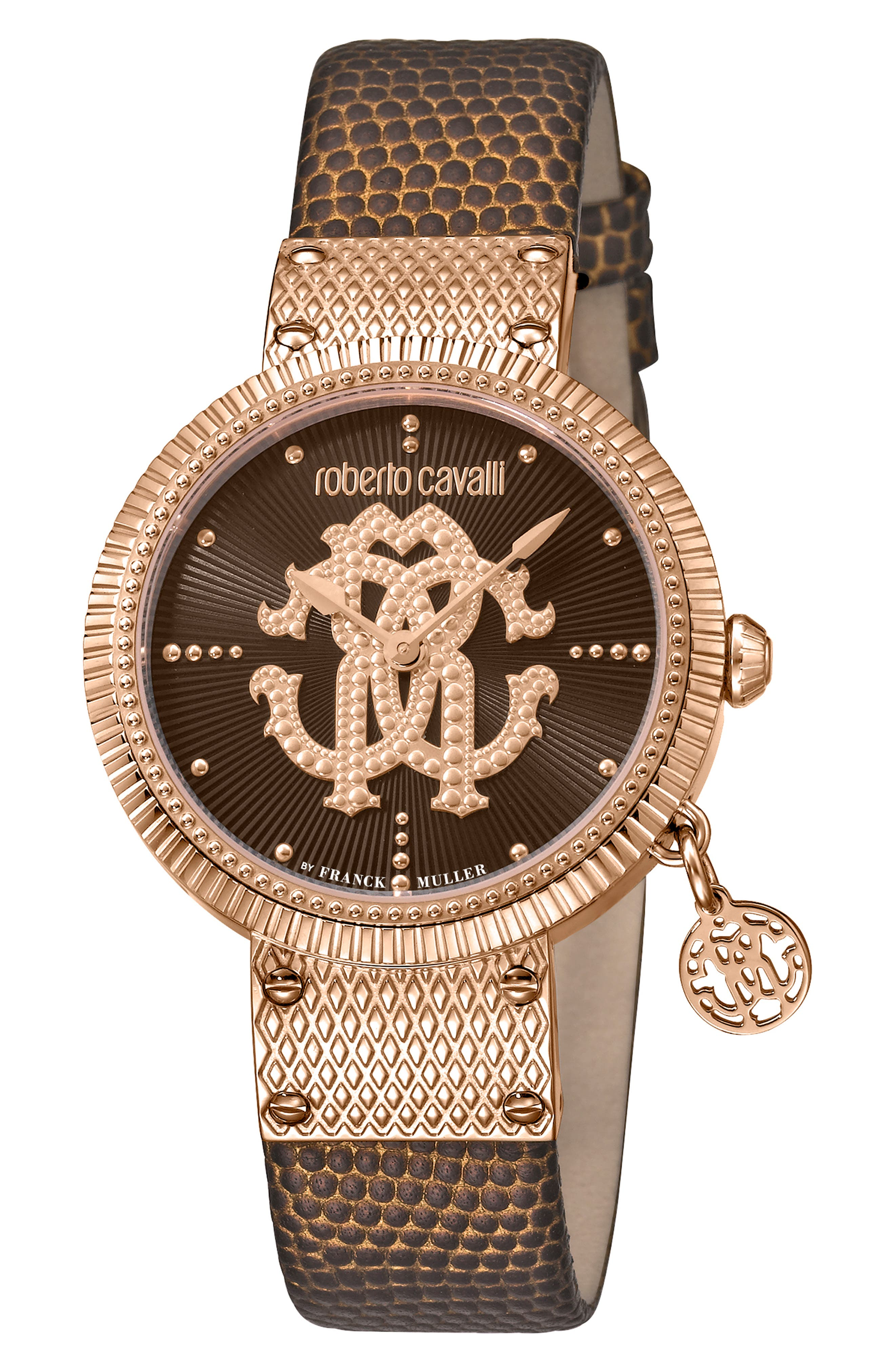 ROBERTO CAVALLI BY FRANCK MULLER Dotted Leather Strap Watch, 34Mm in Brown/ Rose Gold