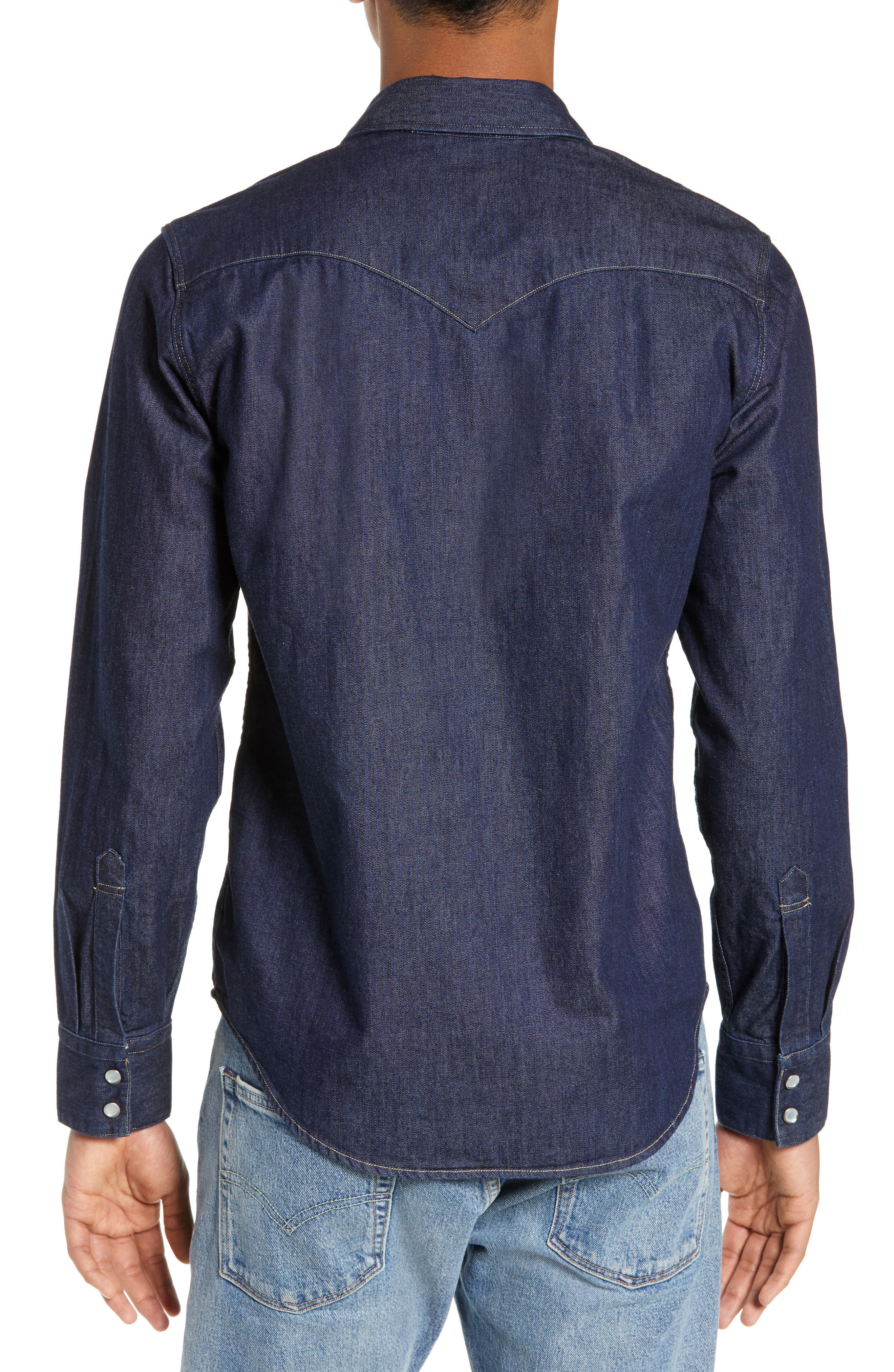 LEVI'S<SUP>®</SUP>,                             Barstow Denim Western Shirt,                             Alternate thumbnail 3, color,                             RED CAST RINSE