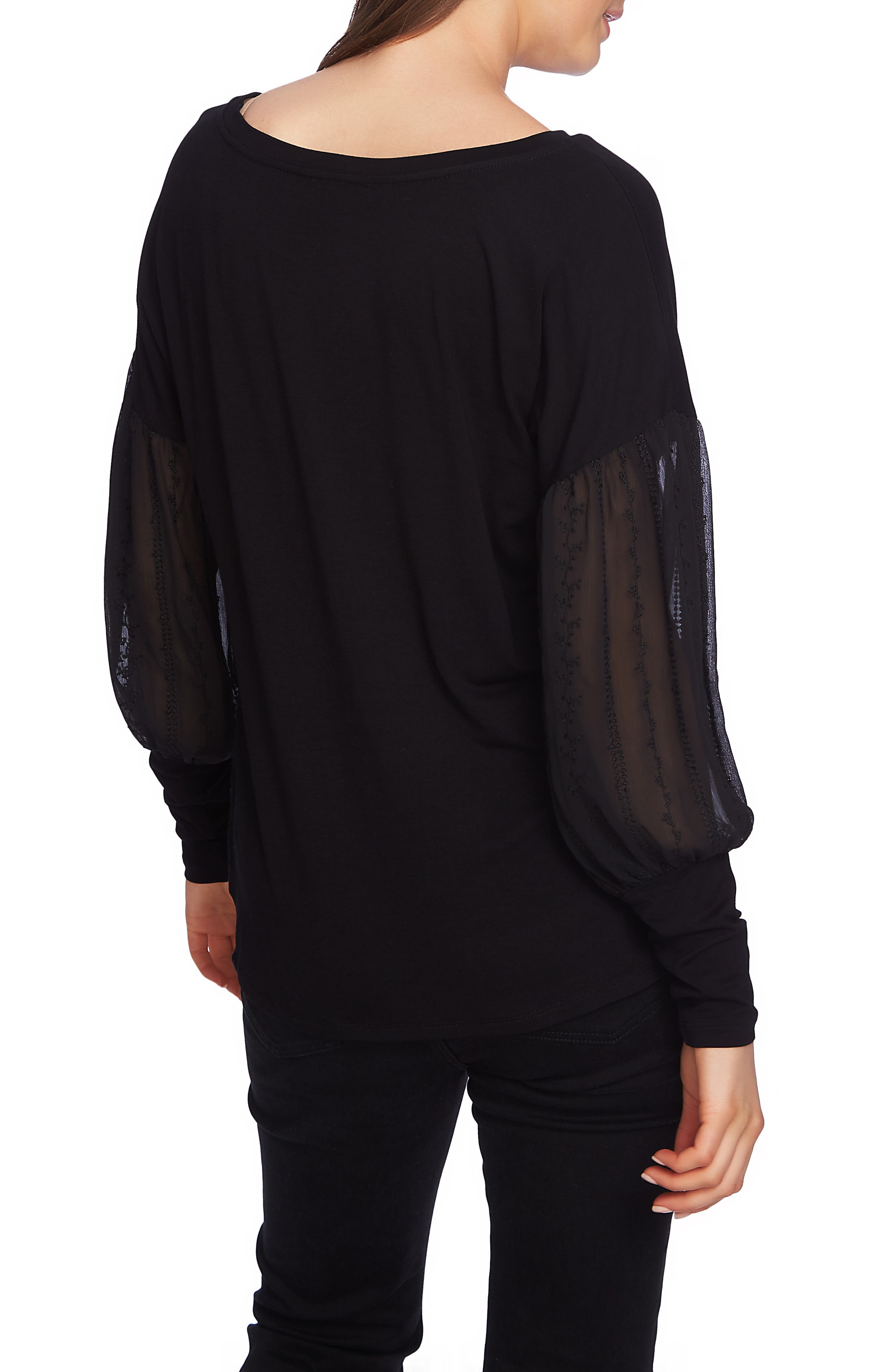 Embroidered Sleeve Swing Tee,                             Alternate thumbnail 2, color,                             RICH BLACK