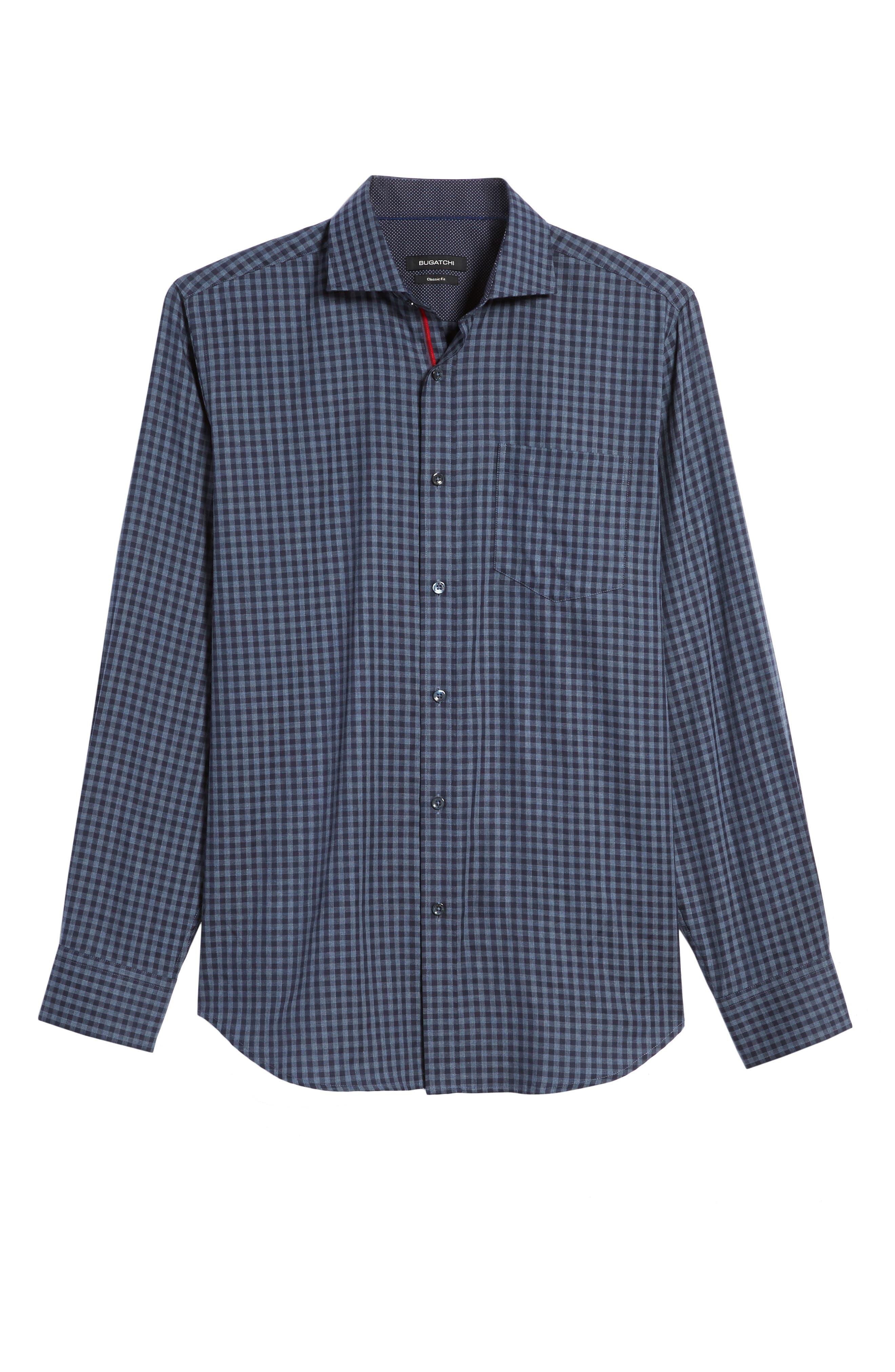 Classic Fit Herringbone Gingham Sport Shirt,                             Alternate thumbnail 6, color,                             030