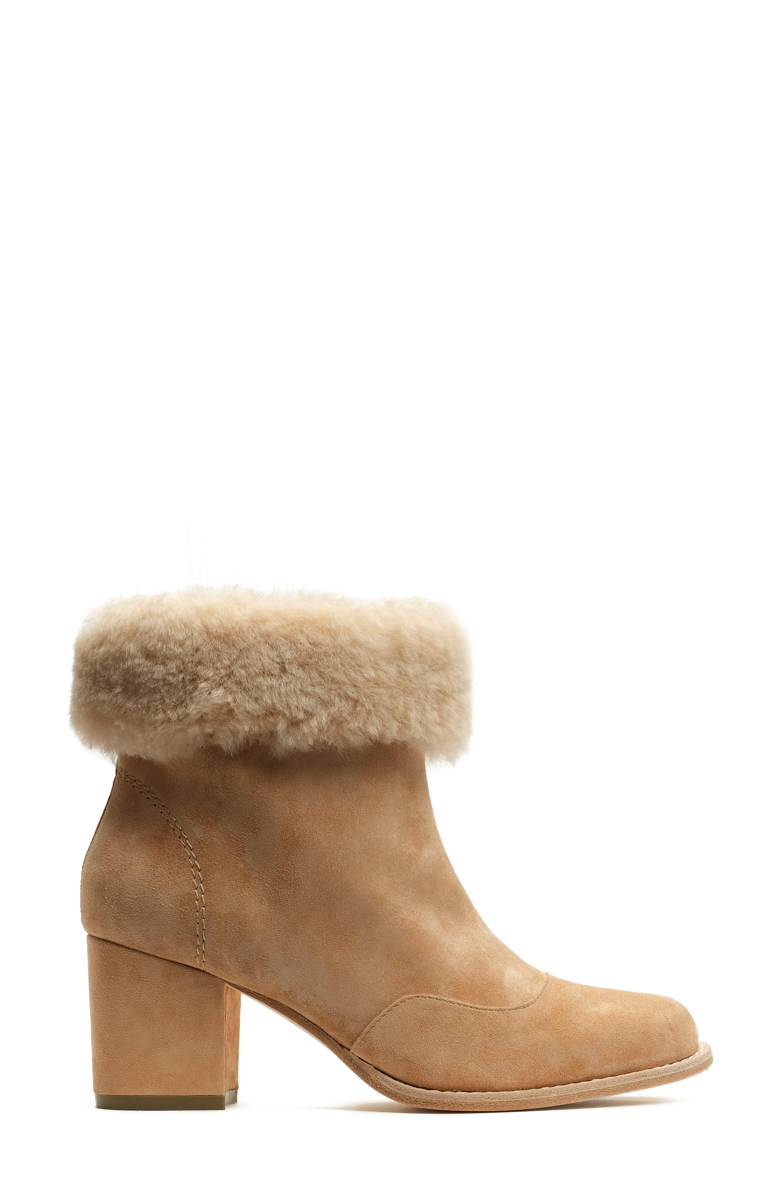 Genuine Shearling Bootie,                             Alternate thumbnail 3, color,