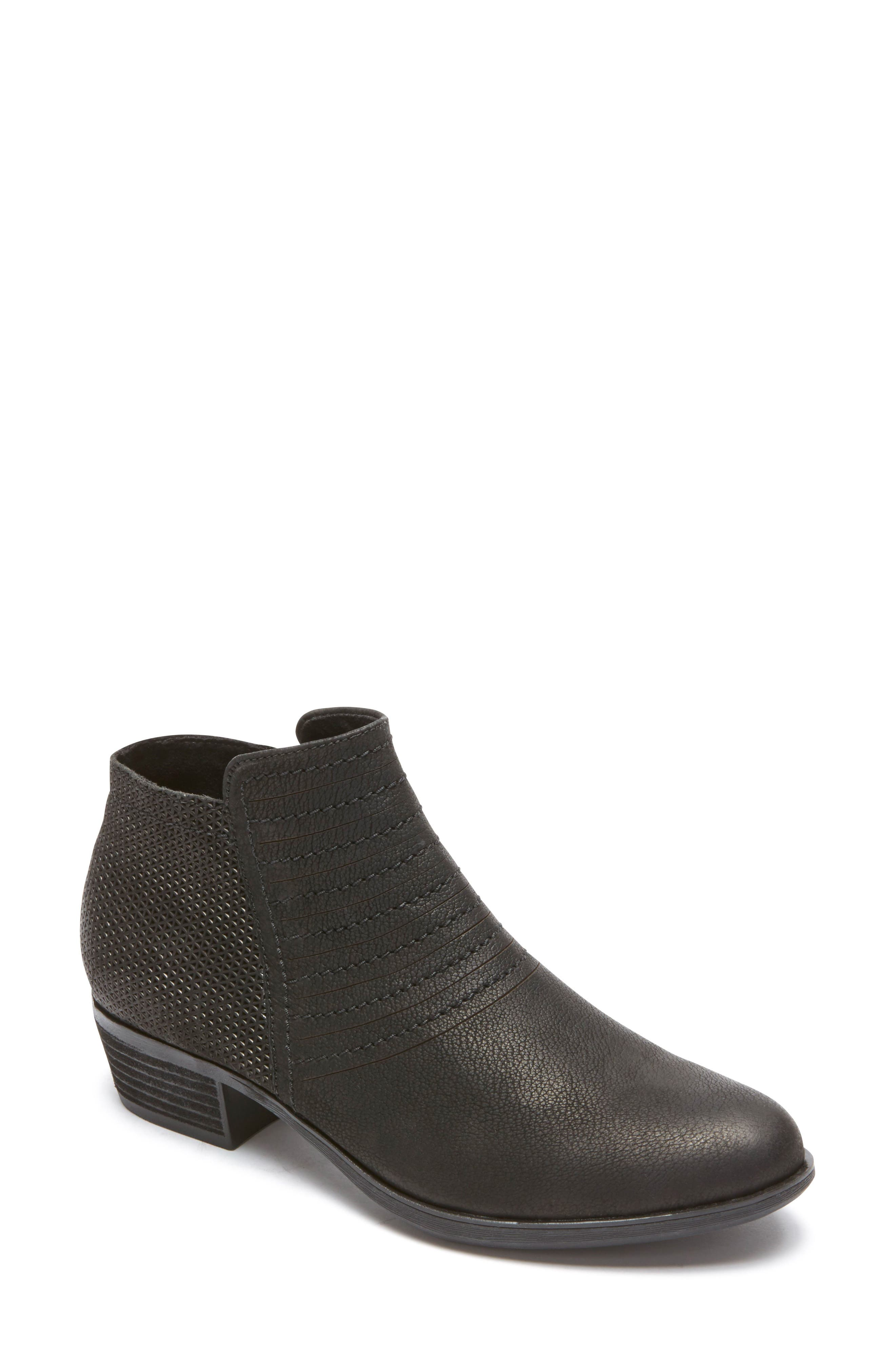 ROCKPORT,                             Vanna Strappy Bootie,                             Main thumbnail 1, color,                             BLACK NUBUCK