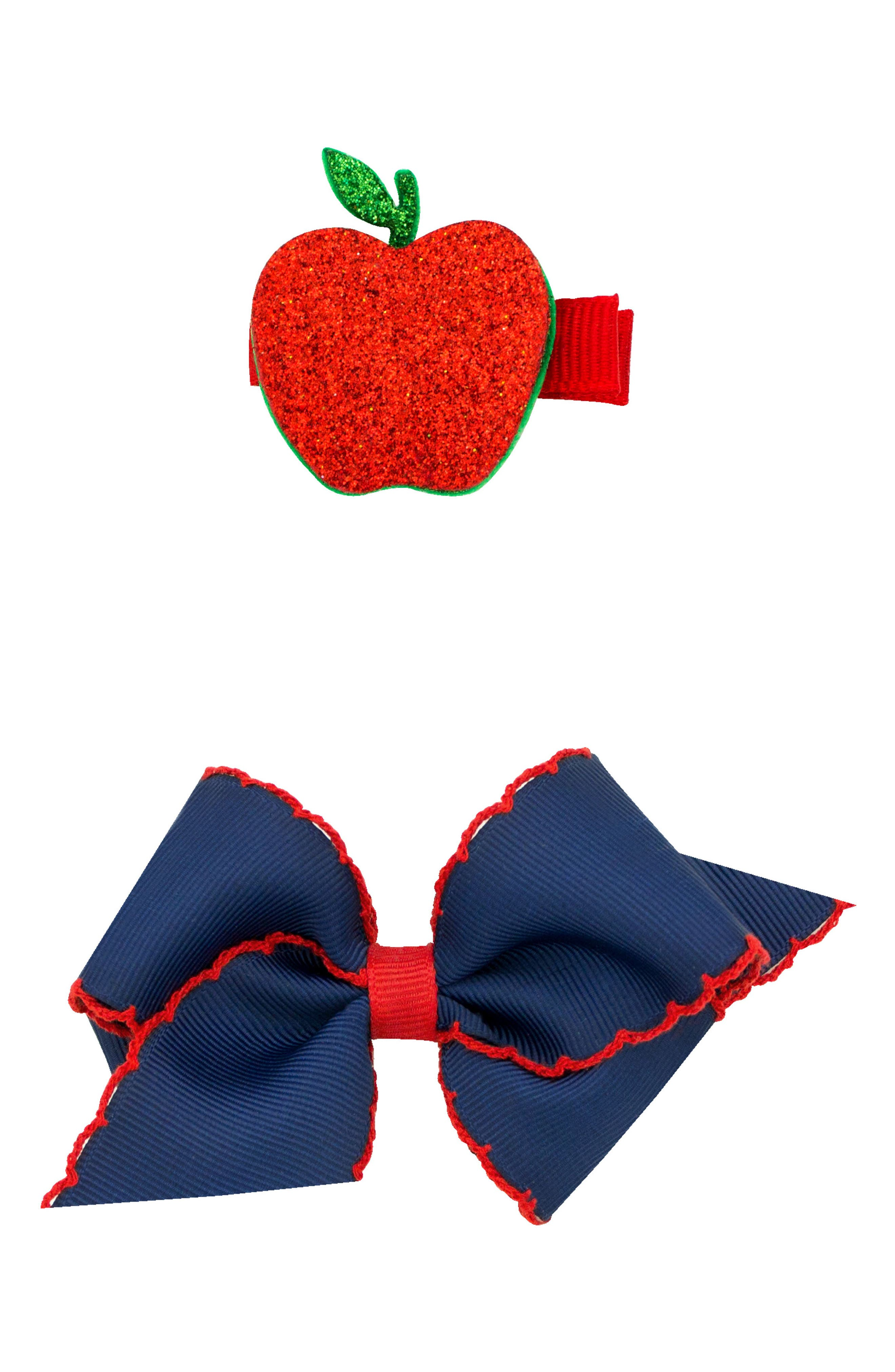 Bow & Apple Hair Clips,                             Main thumbnail 1, color,                             NAVY/ RED