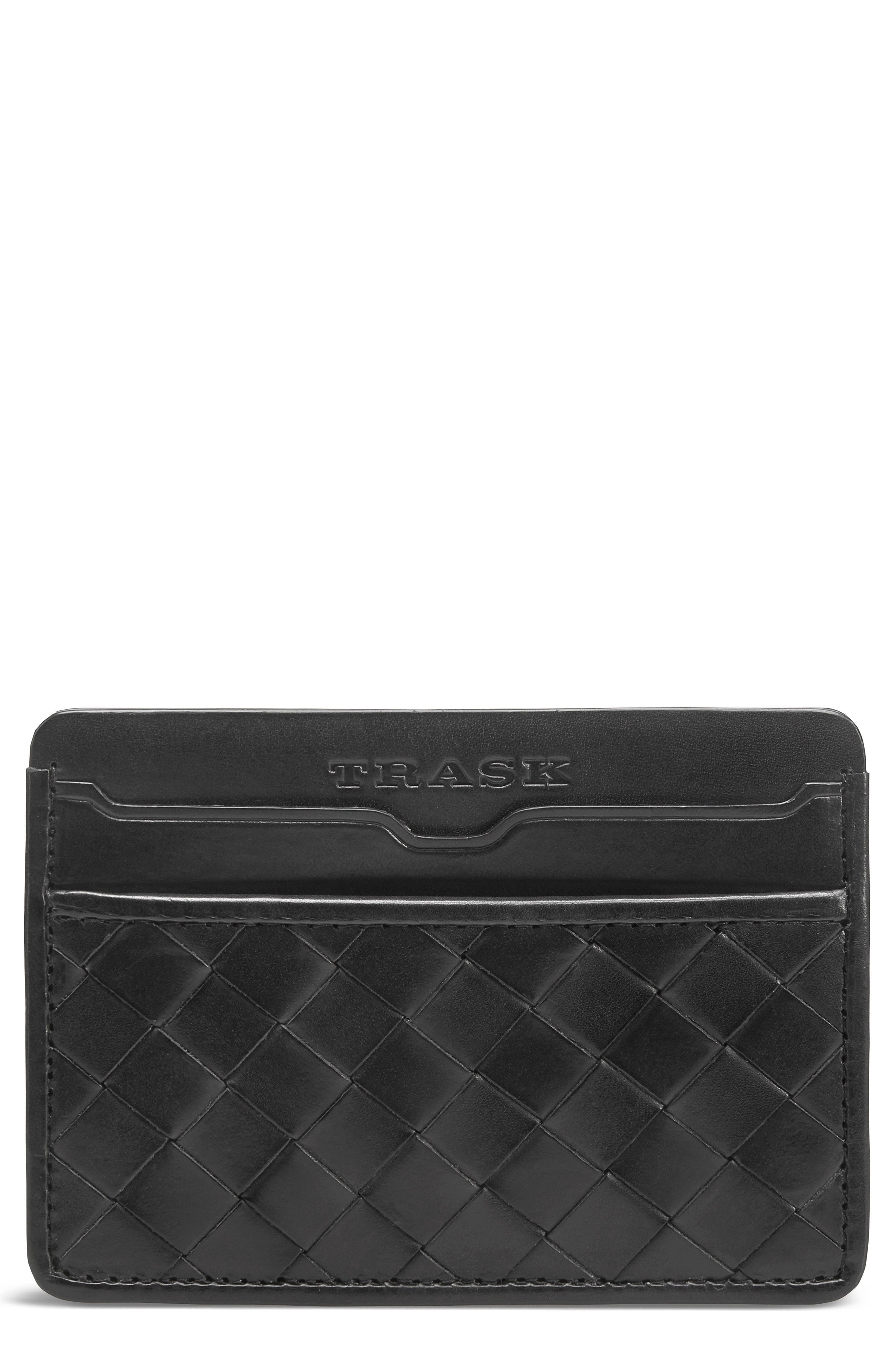 Woven Leather Card Case,                         Main,                         color, BLACK