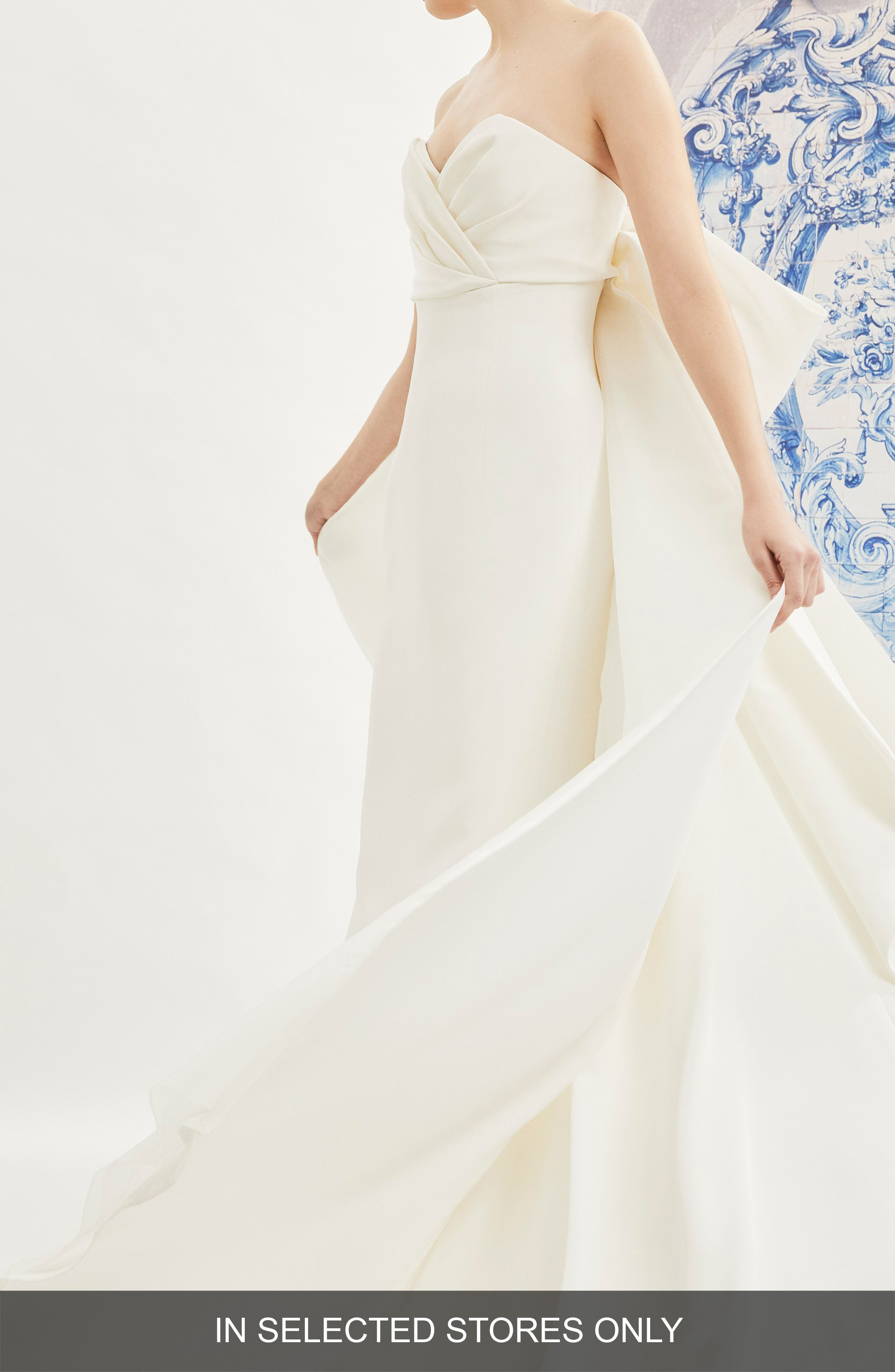 Indira Bow Back Detail Strapless Wedding Dress in Ivory