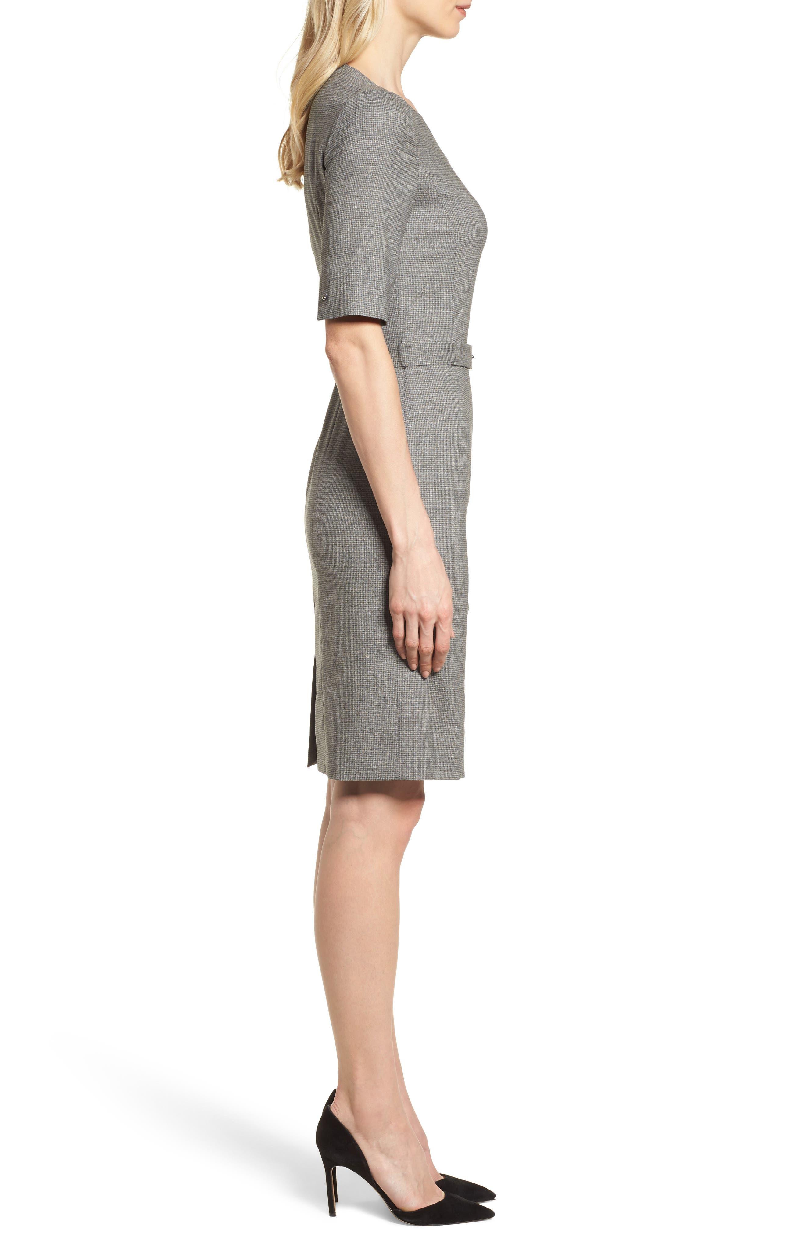 Dewisa Check Wool Sheath Dress,                             Alternate thumbnail 3, color,