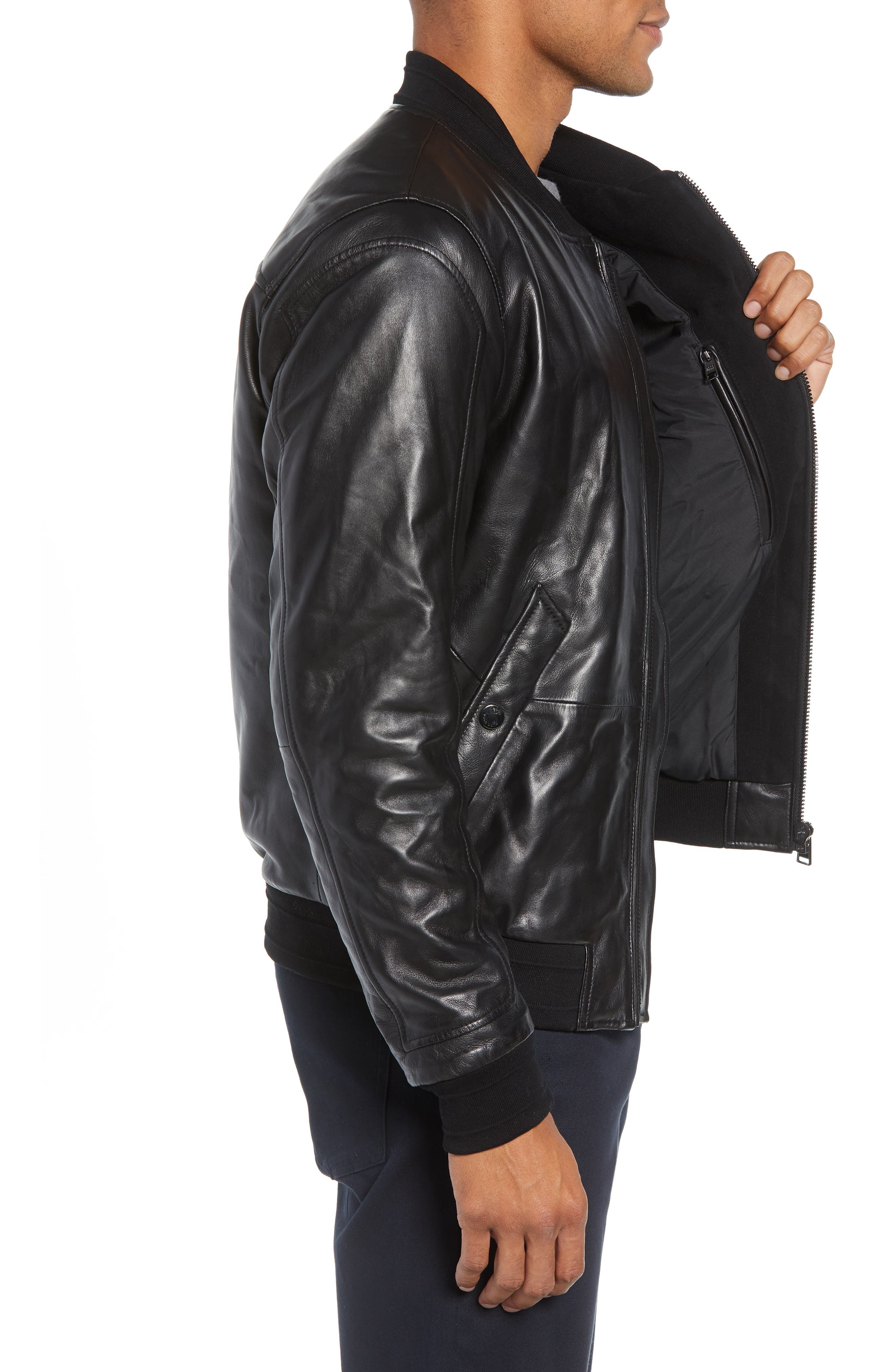 Arinos Leather Bomber Jacket,                             Alternate thumbnail 3, color,                             BLACK