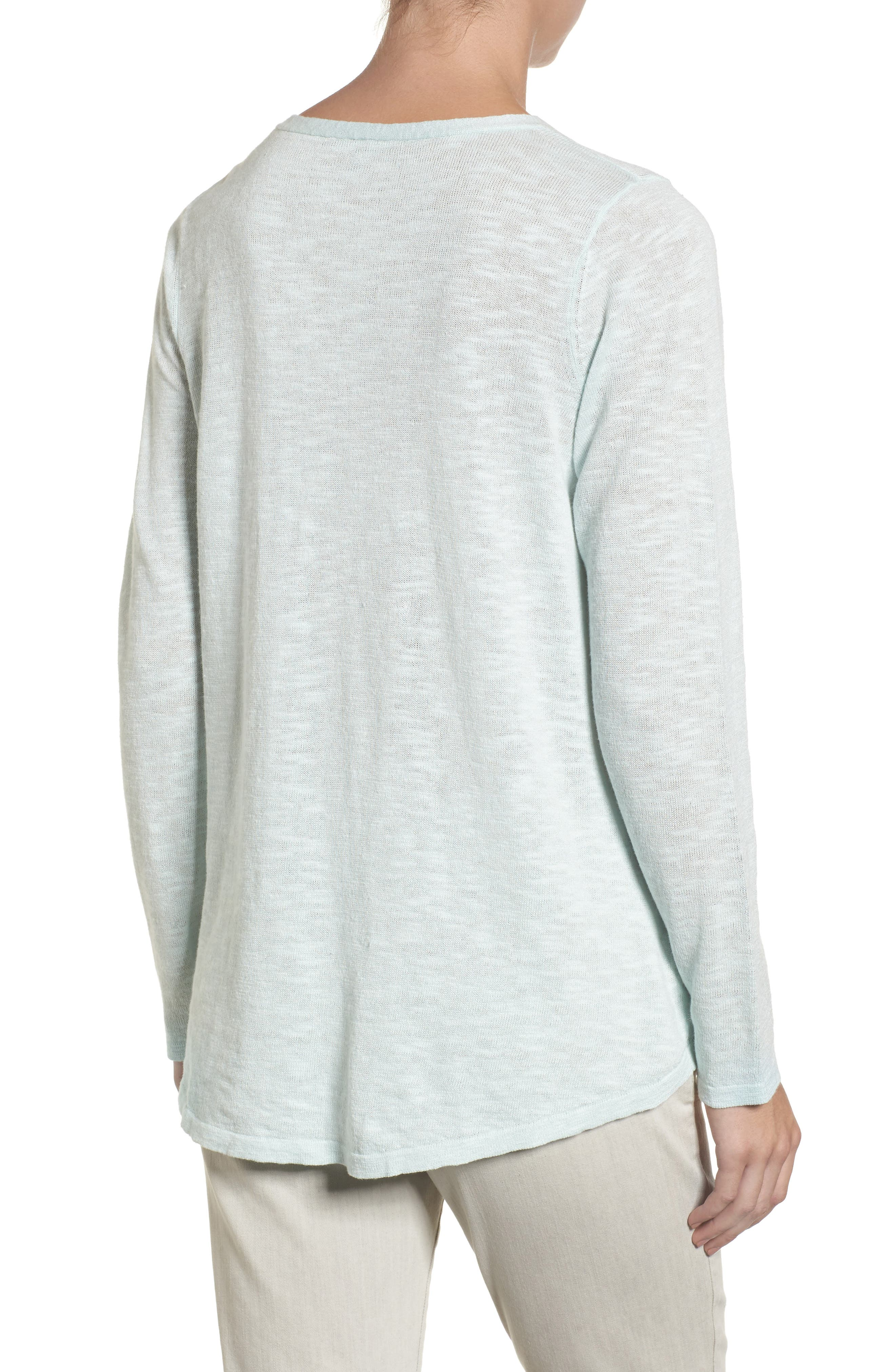 Organic Linen & Cotton V-Neck Sweater,                             Alternate thumbnail 6, color,