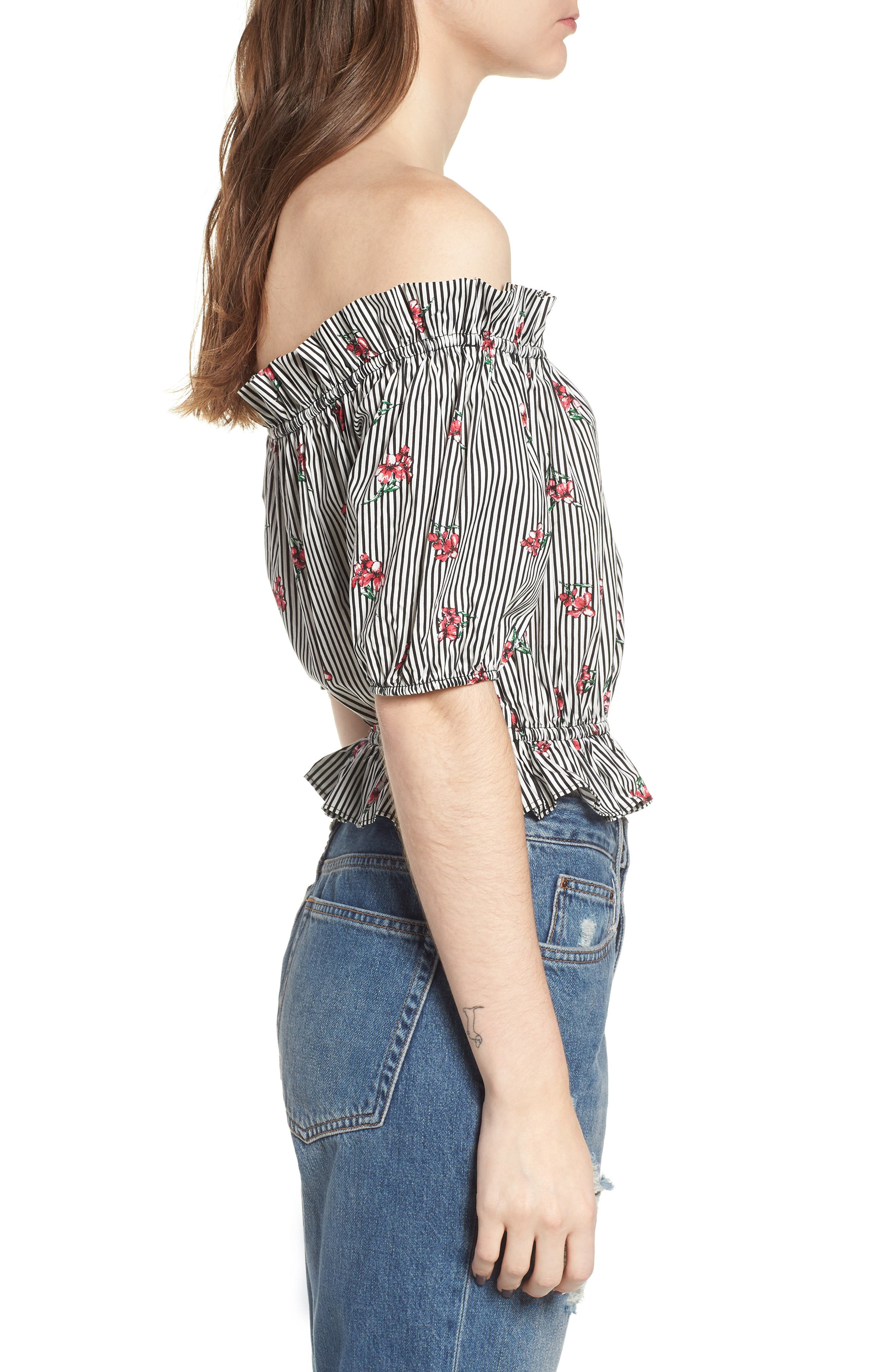 Floral Stripe Off the Shoulder Crop Top,                             Alternate thumbnail 3, color,                             001