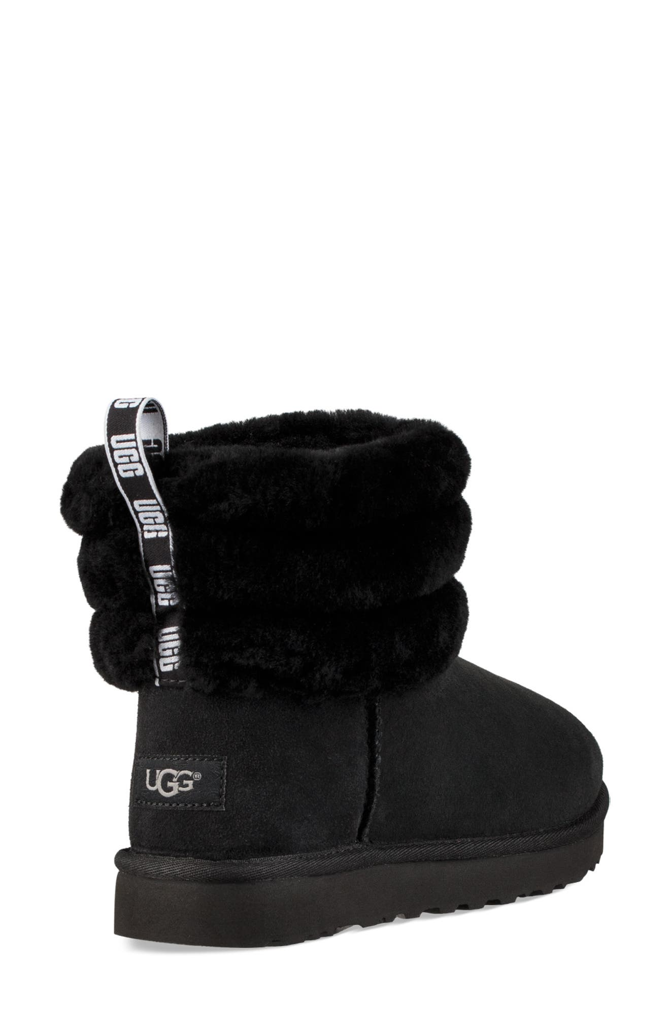 Classic Mini Fluff Quilted Boot,                             Alternate thumbnail 2, color,                             BLACK SUEDE