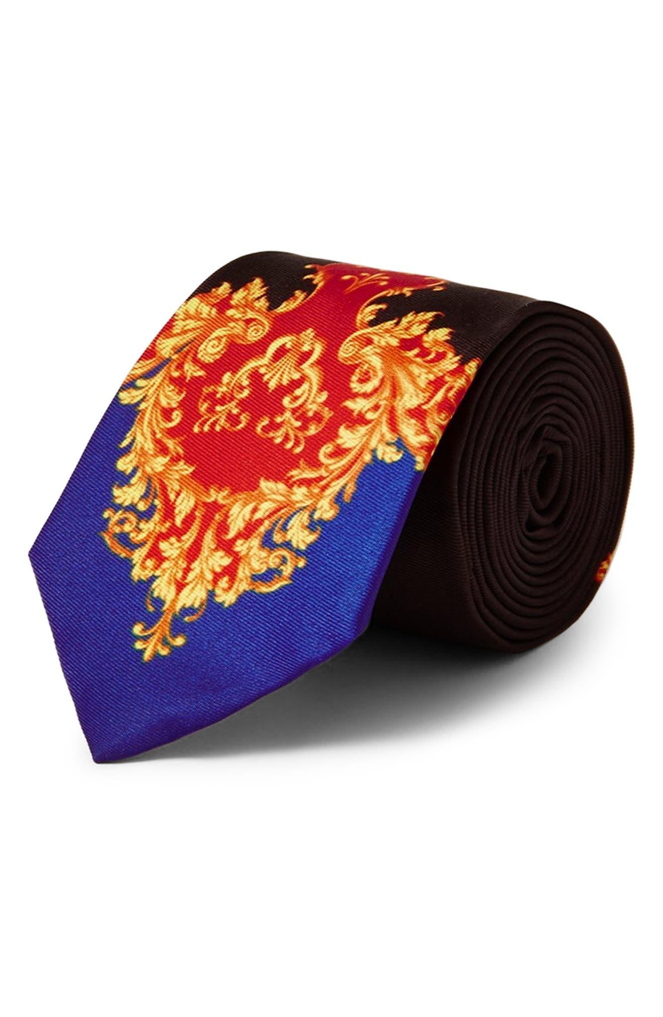 Baroque Print Tie,                         Main,                         color, BLACK MULTI