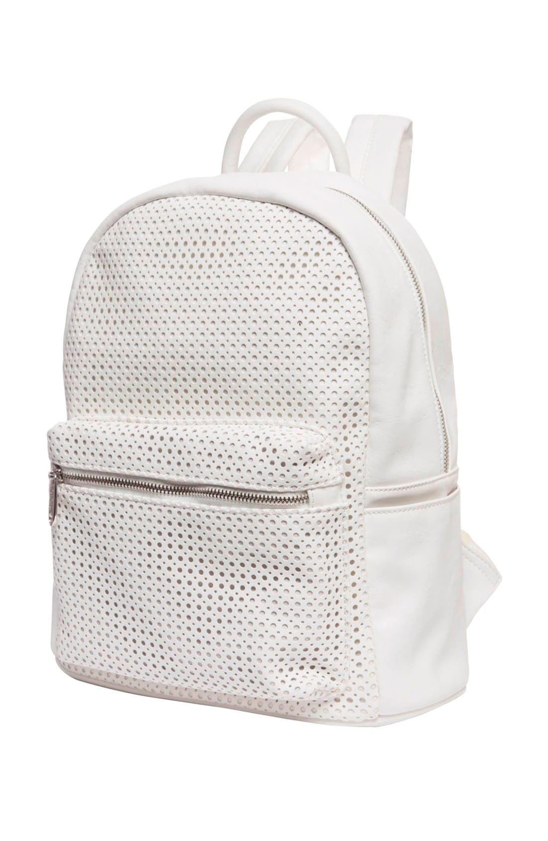 Lola Perforated Vegan Leather Backpack,                             Alternate thumbnail 2, color,                             100