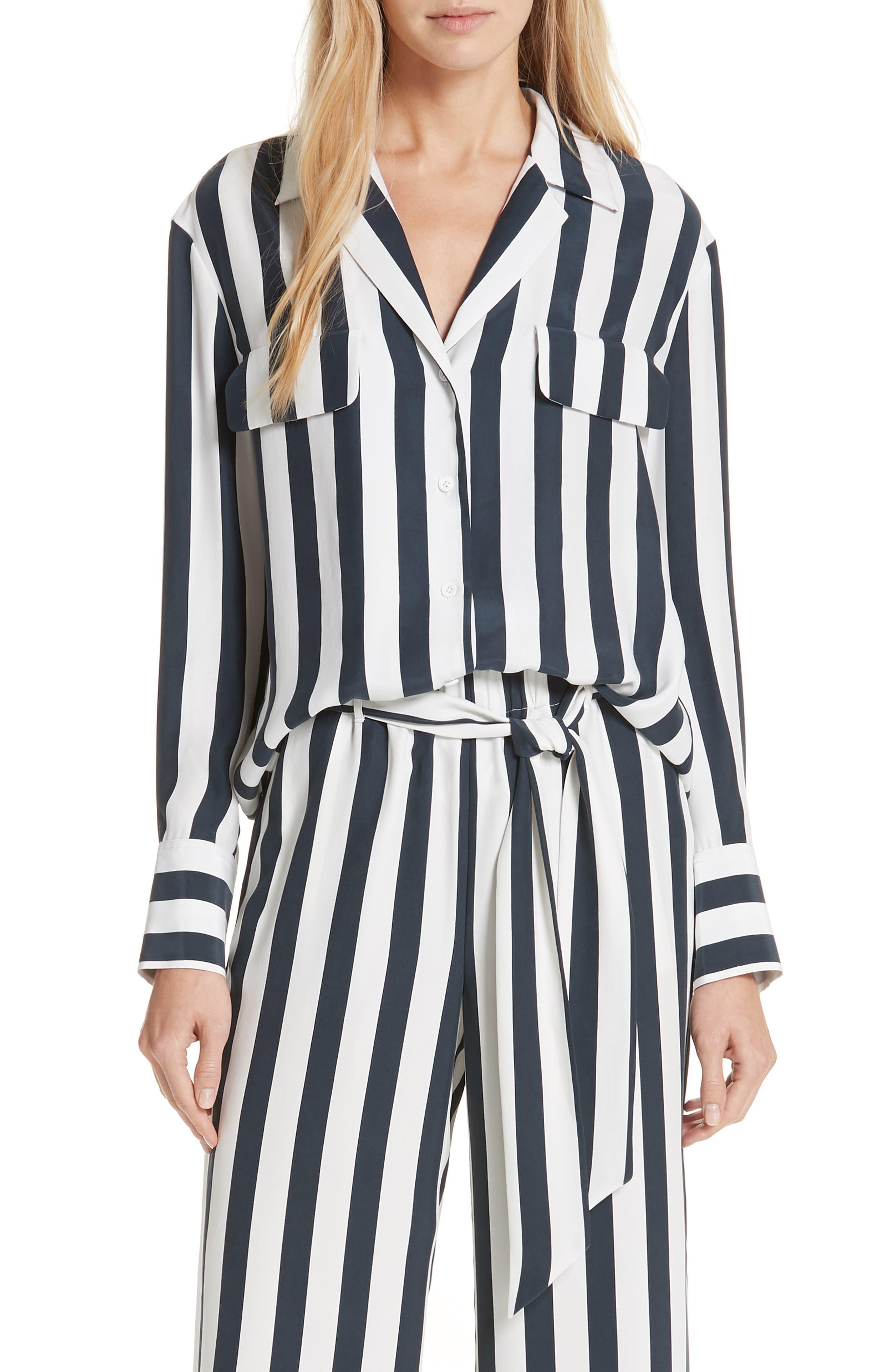 Stripe Silk Shirt,                             Main thumbnail 1, color,                             NAVY MULTI