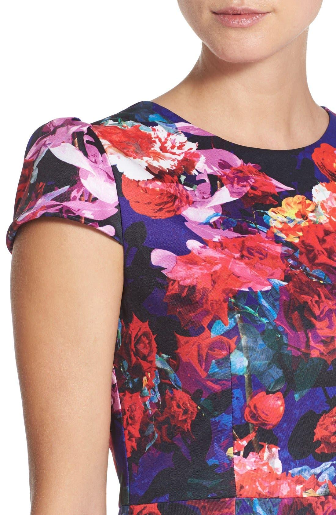 Print Stretch Midi Dress,                             Alternate thumbnail 6, color,                             002