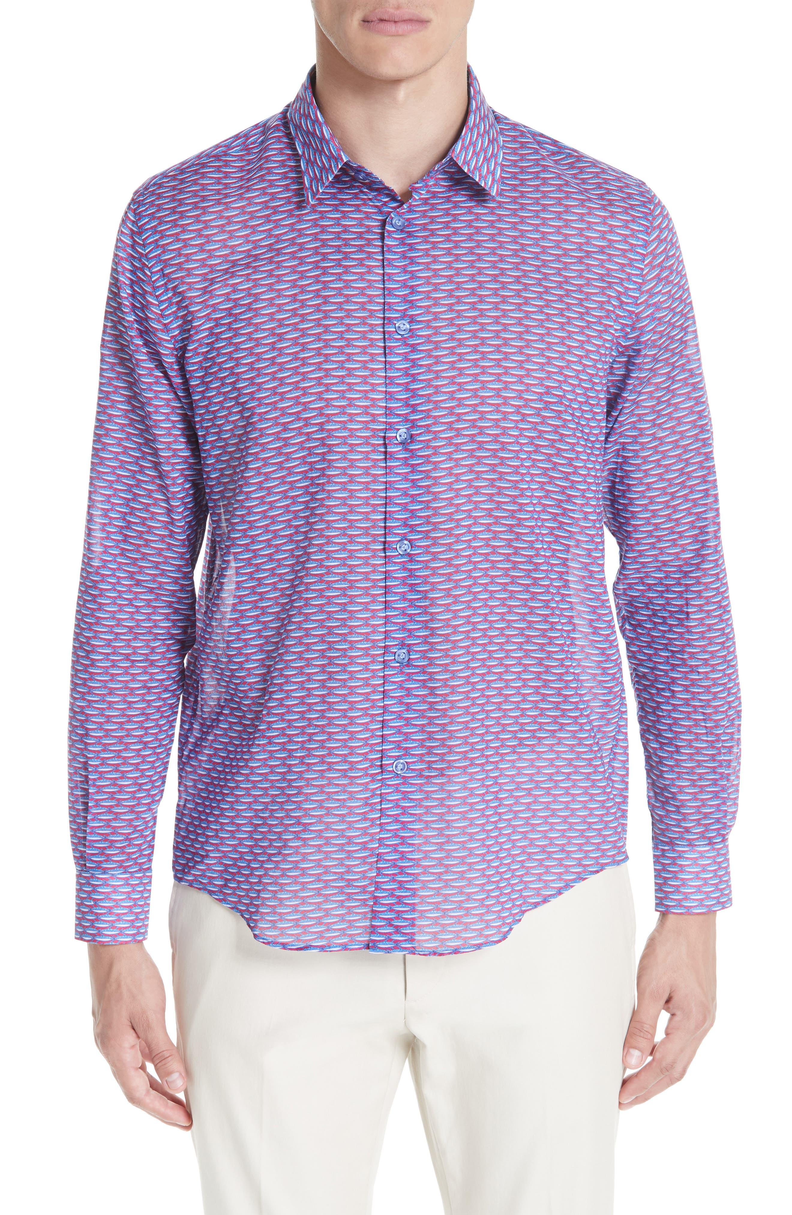 Marbella Voile Print Sport Shirt,                         Main,                         color, MULTI
