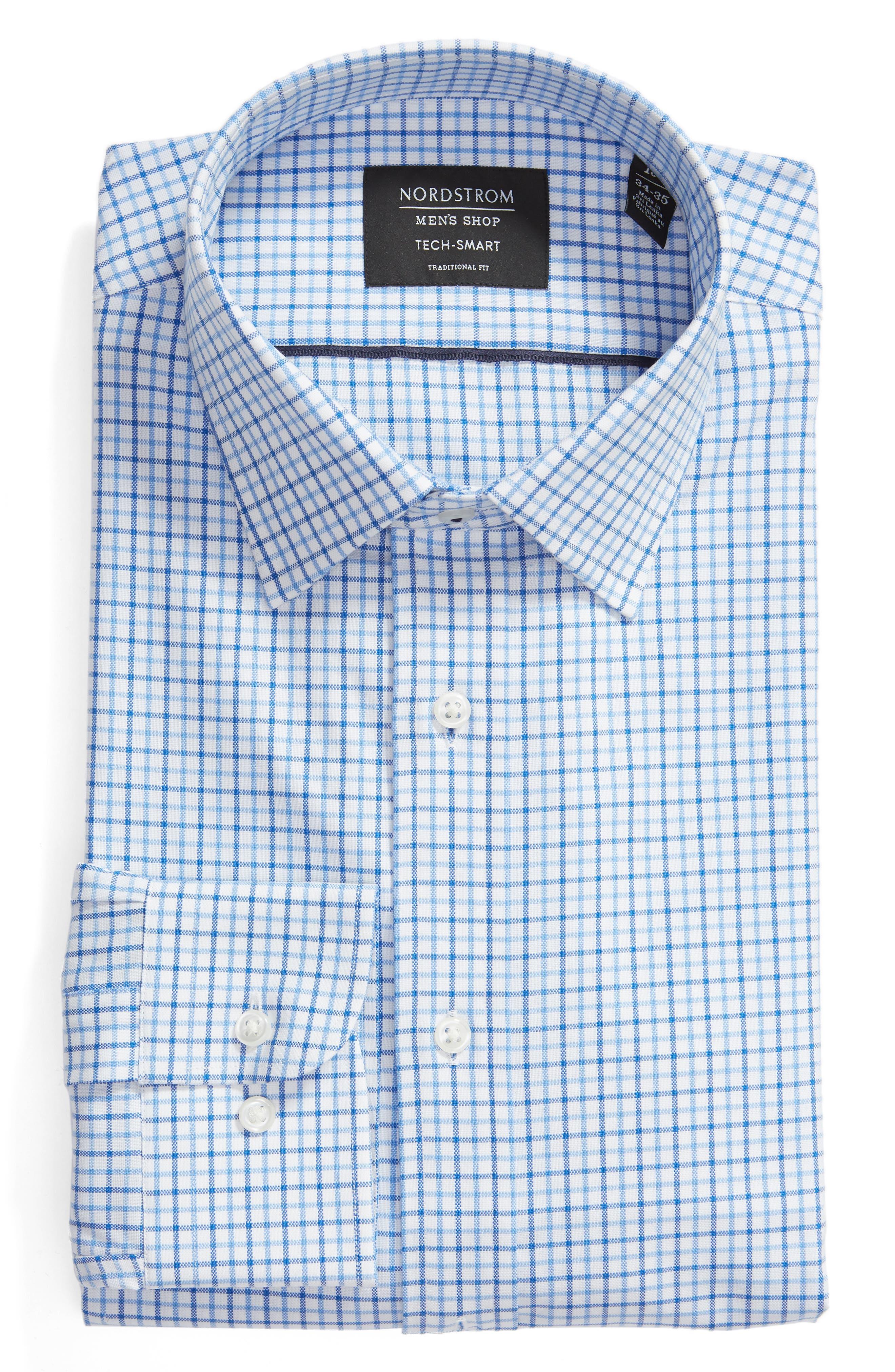 NORDSTROM MEN'S SHOP,                             Tech-Smart Traditional Fit Check Stretch Dress Shirt,                             Alternate thumbnail 5, color,                             BLUE VICTORIA