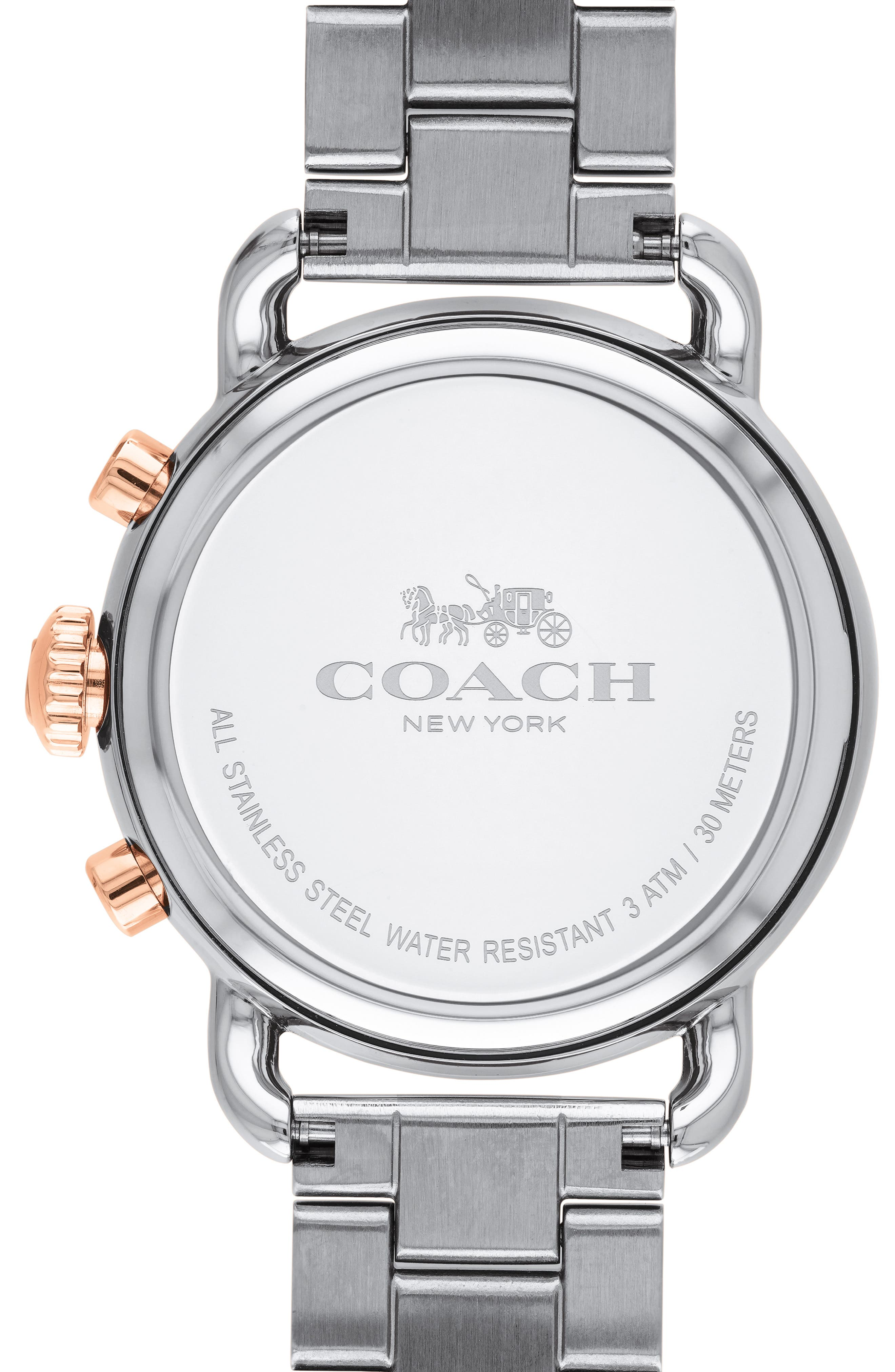 Delancey Chronograph Crystal Accent Bracelet Watch, 36mm,                             Alternate thumbnail 2, color,                             SILVER/ ROSE GOLD
