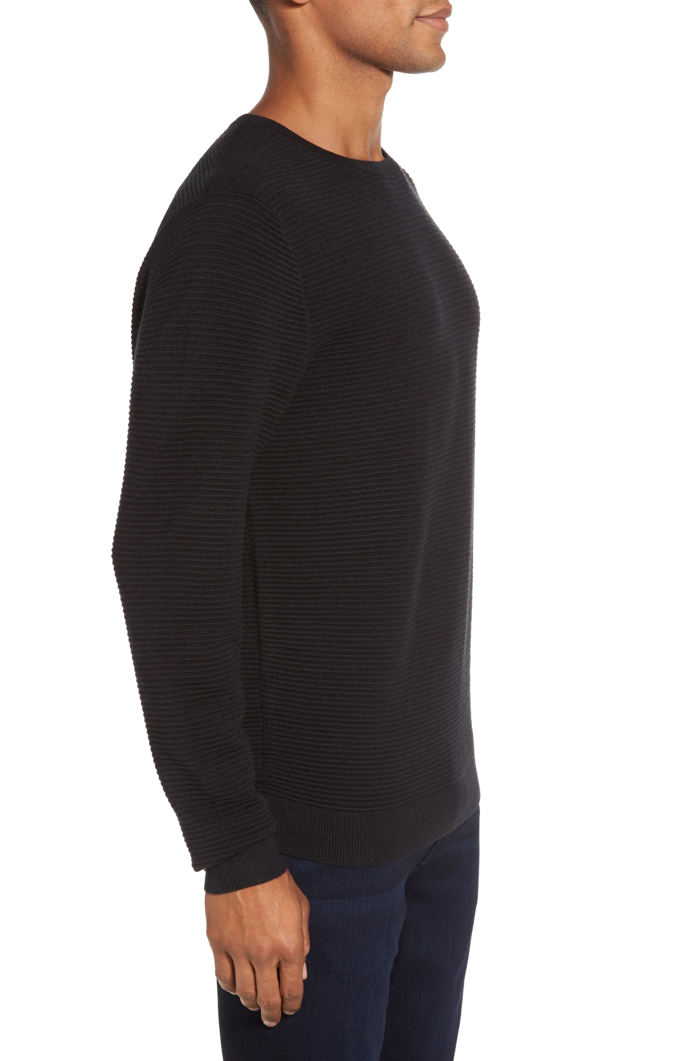 Ottoman Ribbed Crewneck Sweater,                             Alternate thumbnail 7, color,
