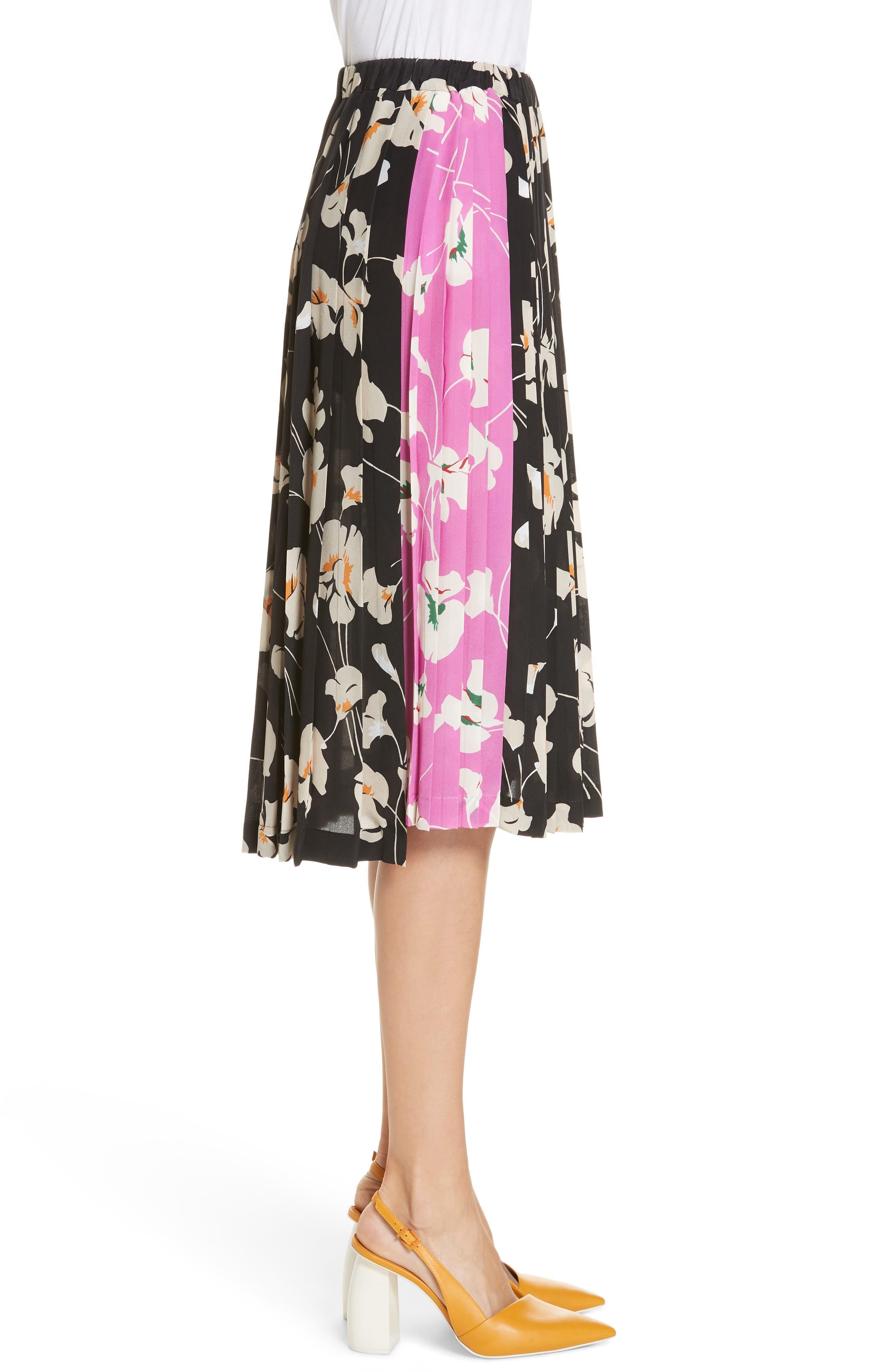 N°21,                             Nº21 Contrast Panel Floral Print Silk Skirt,                             Alternate thumbnail 3, color,                             STAMPA FONDO NERO
