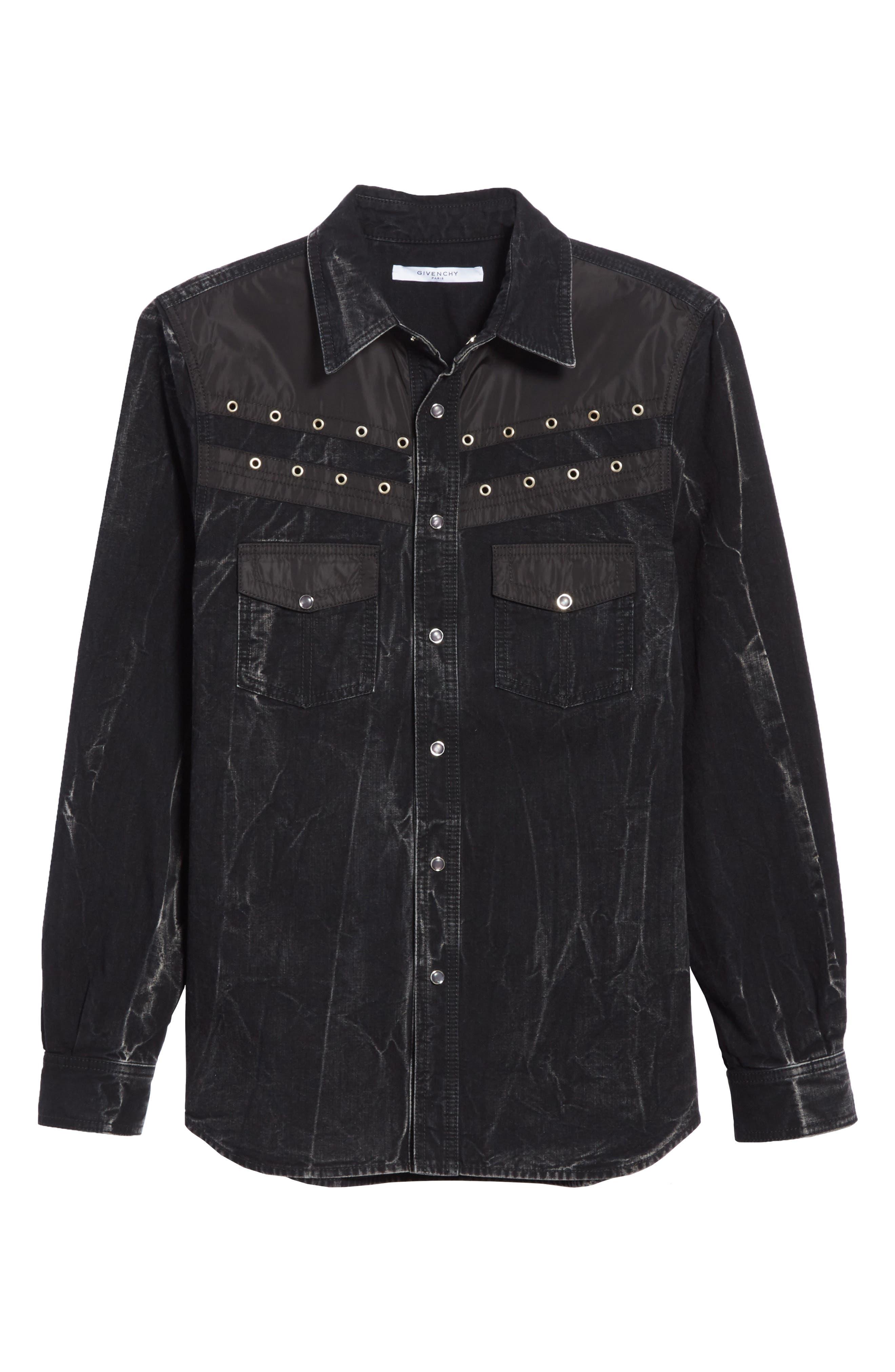 Denim Shirt,                             Alternate thumbnail 6, color,                             BLACK/ GREY