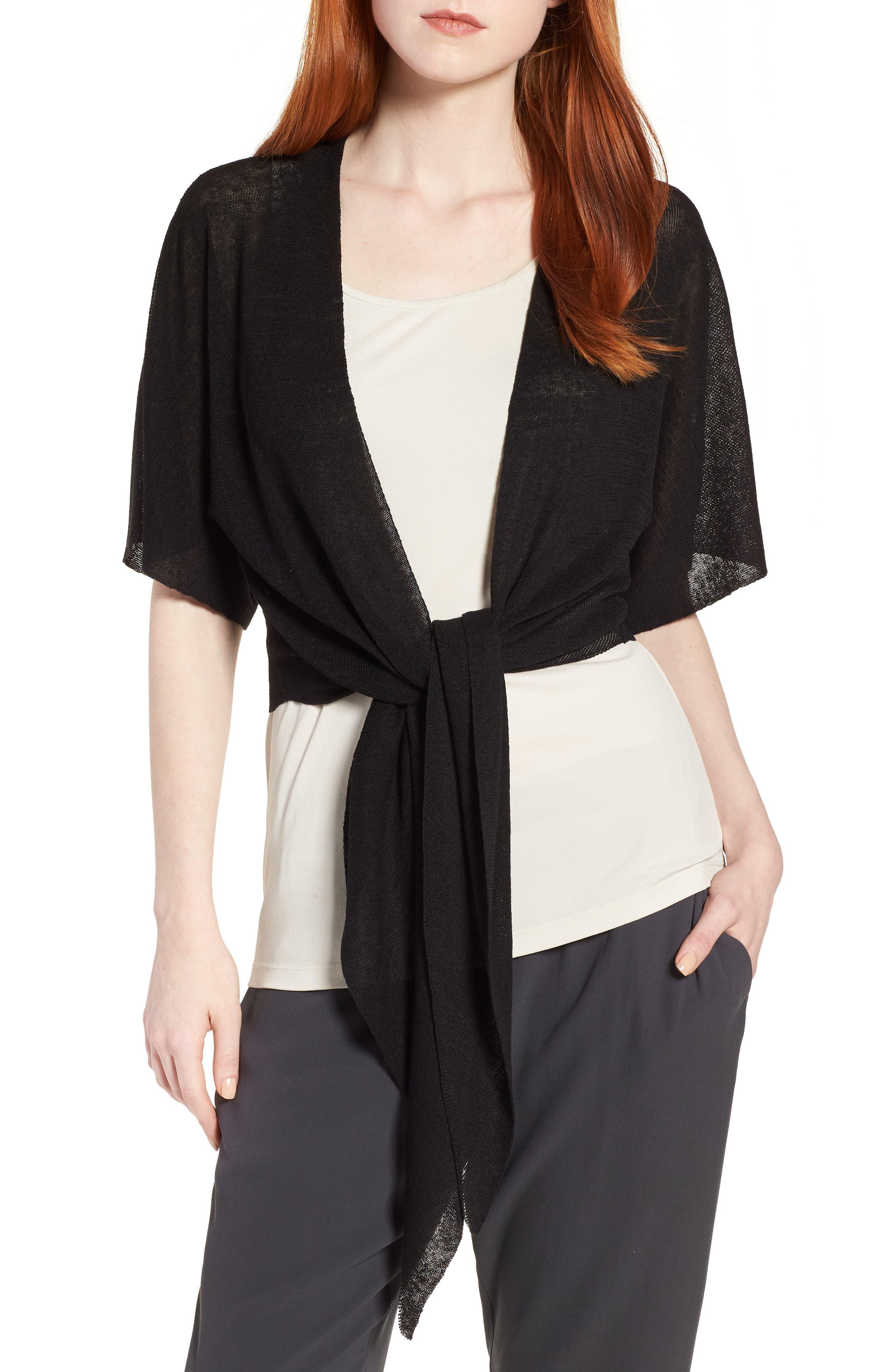 Tie Front Organic Linen Blend Cardigan,                         Main,                         color,