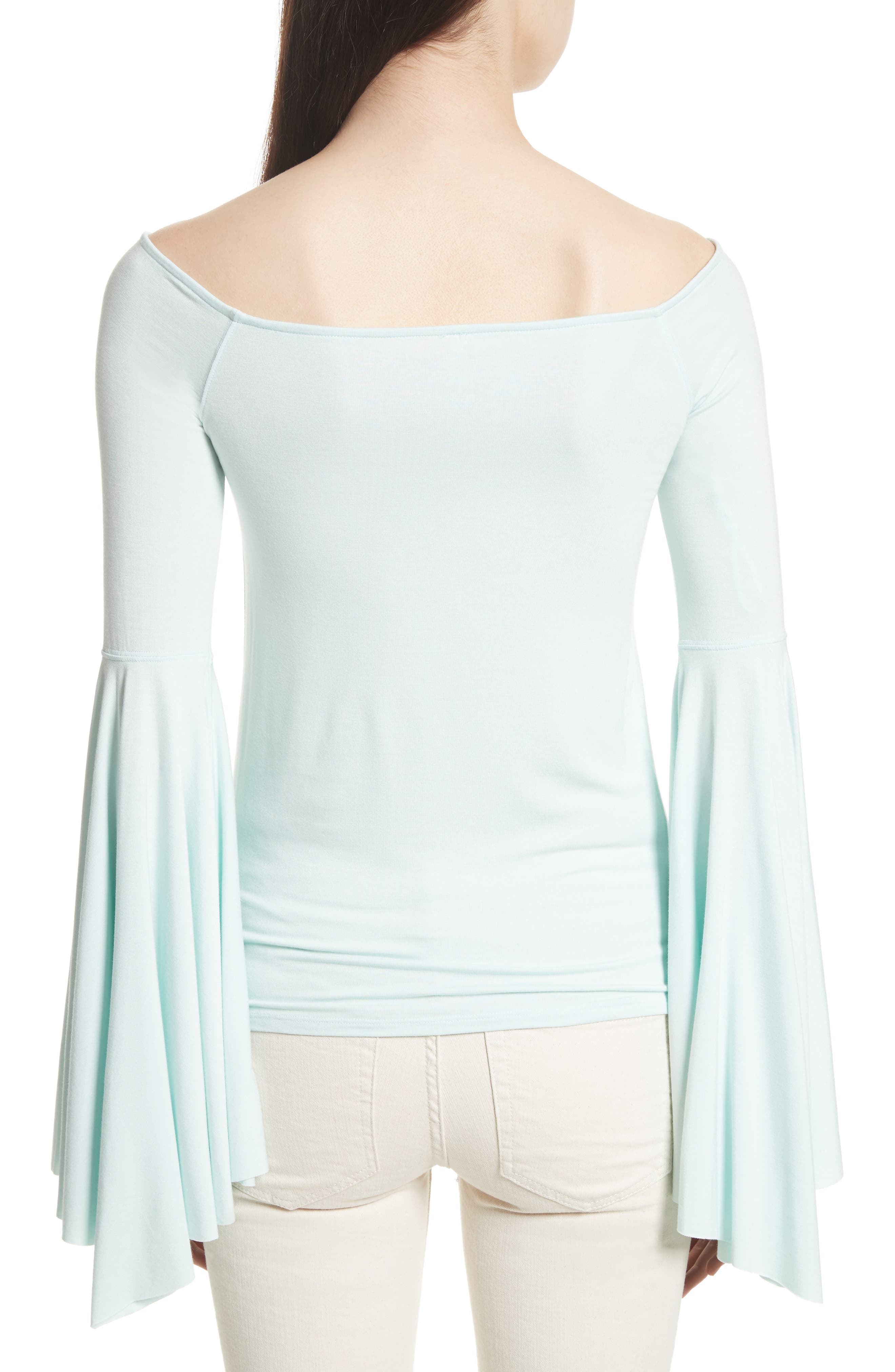 Birds of Paradise Off the Shoulder Top,                             Alternate thumbnail 6, color,