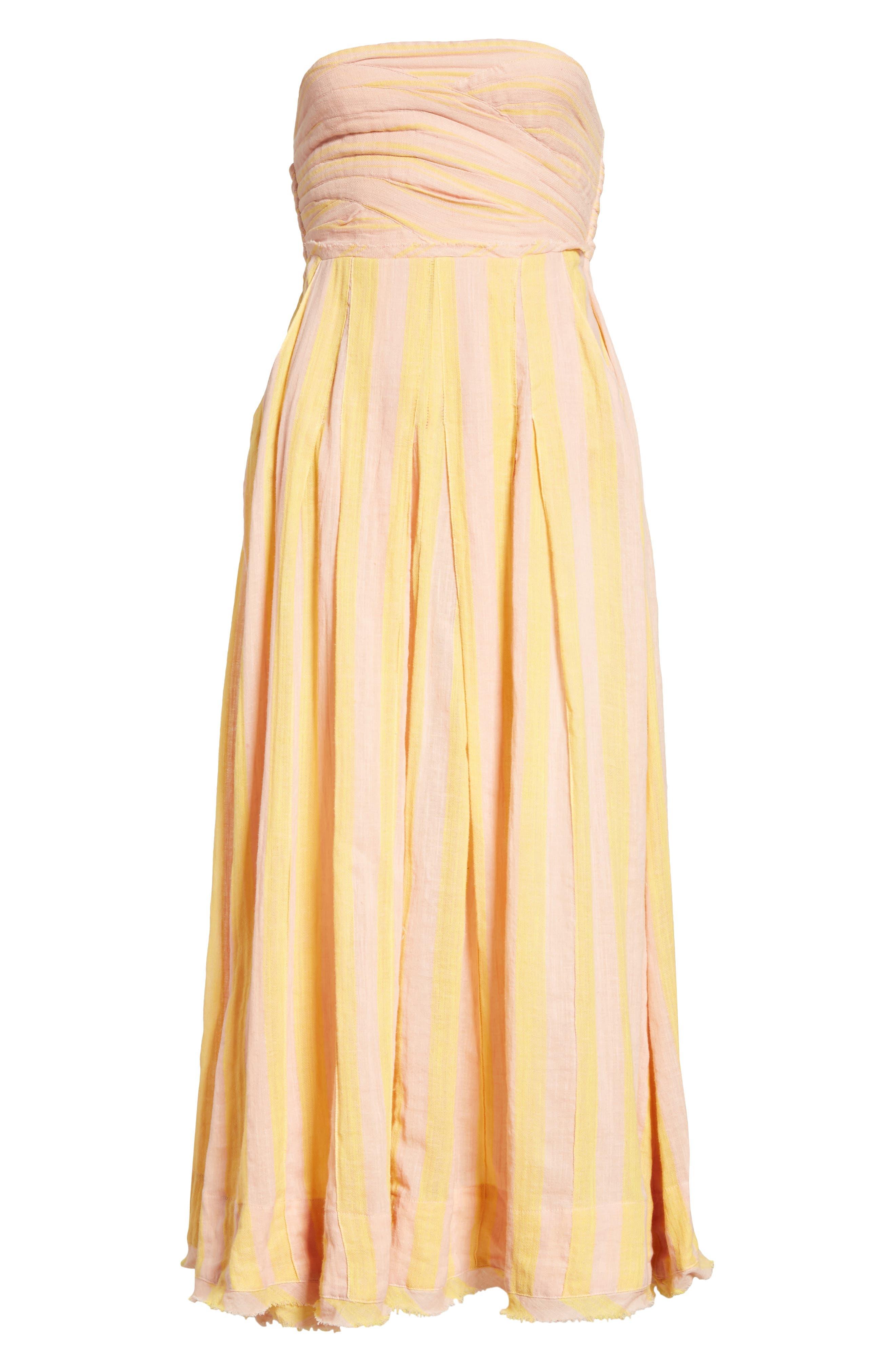Stripe Me Up Strapless Midi Dress,                             Alternate thumbnail 13, color,