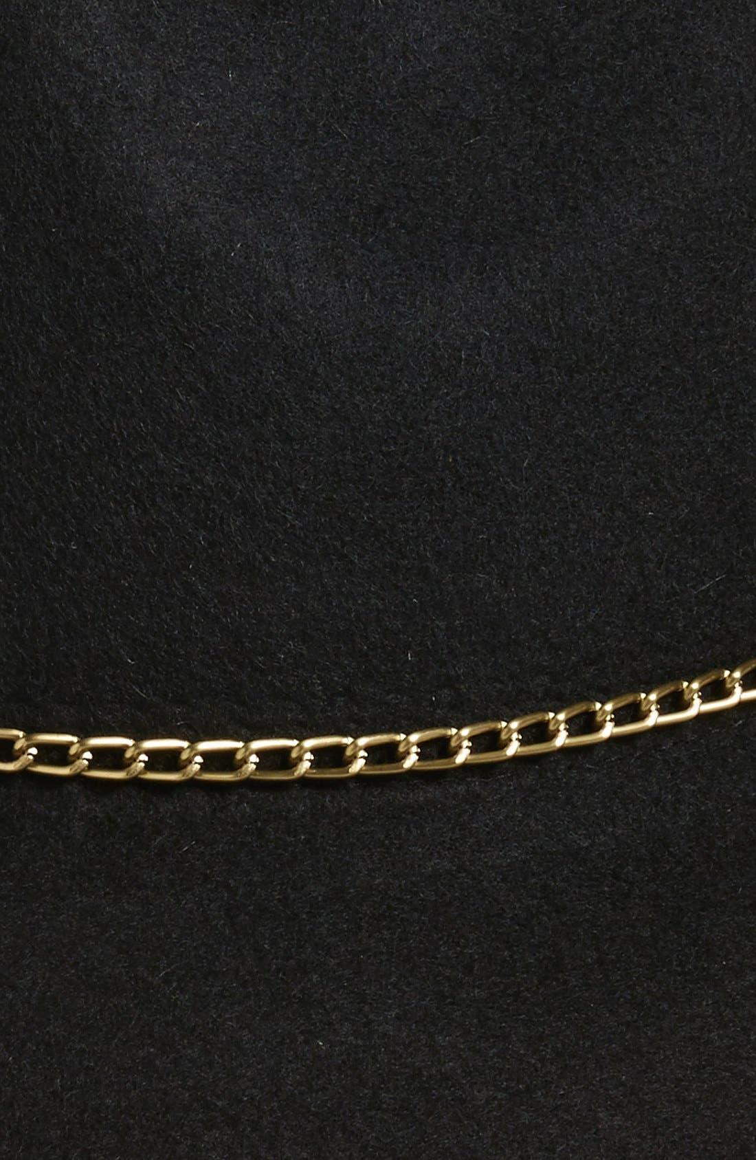 Chain Trim Panama Hat,                             Alternate thumbnail 2, color,                             001