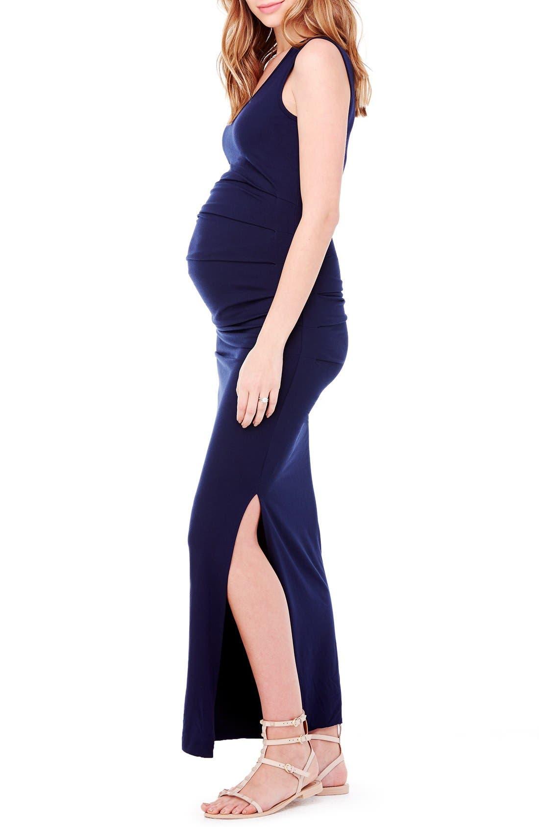 Striped Tank Maternity Maxi Dress,                             Alternate thumbnail 9, color,