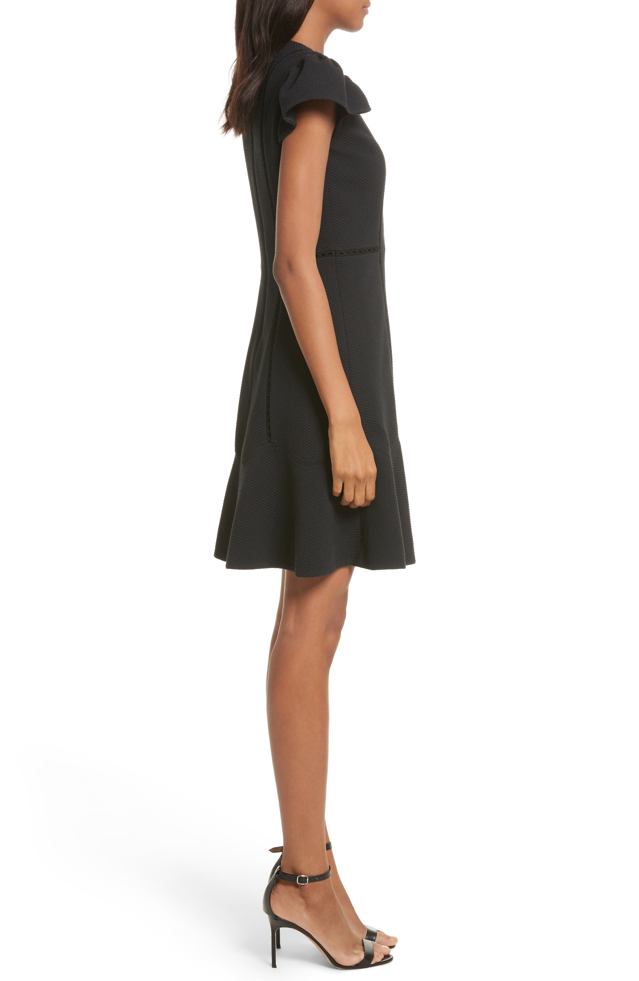 Textured Stretch Fit & Flare Dress,                             Alternate thumbnail 3, color,