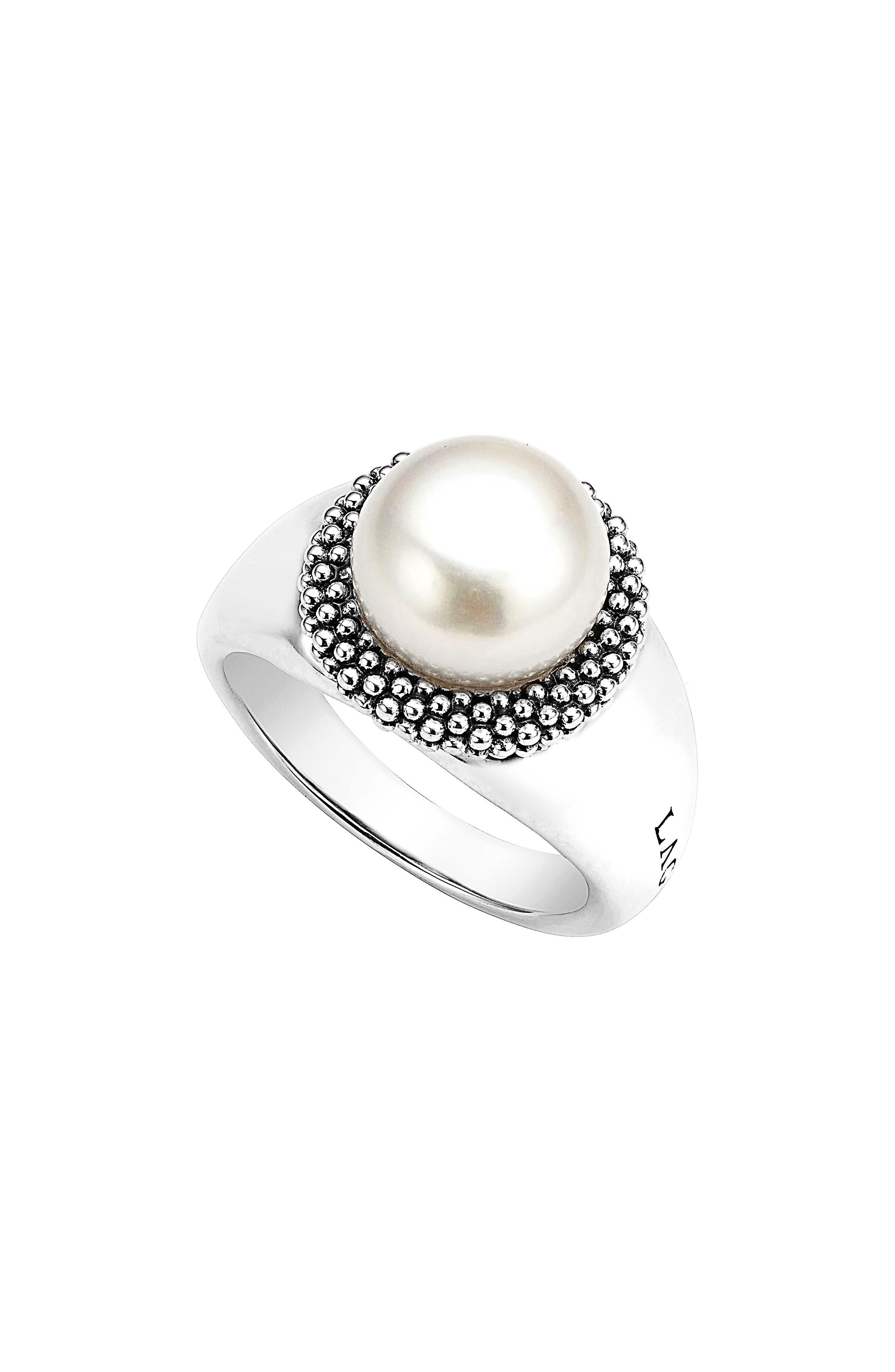 'Luna' Large Pearl Ring,                         Main,                         color, 040
