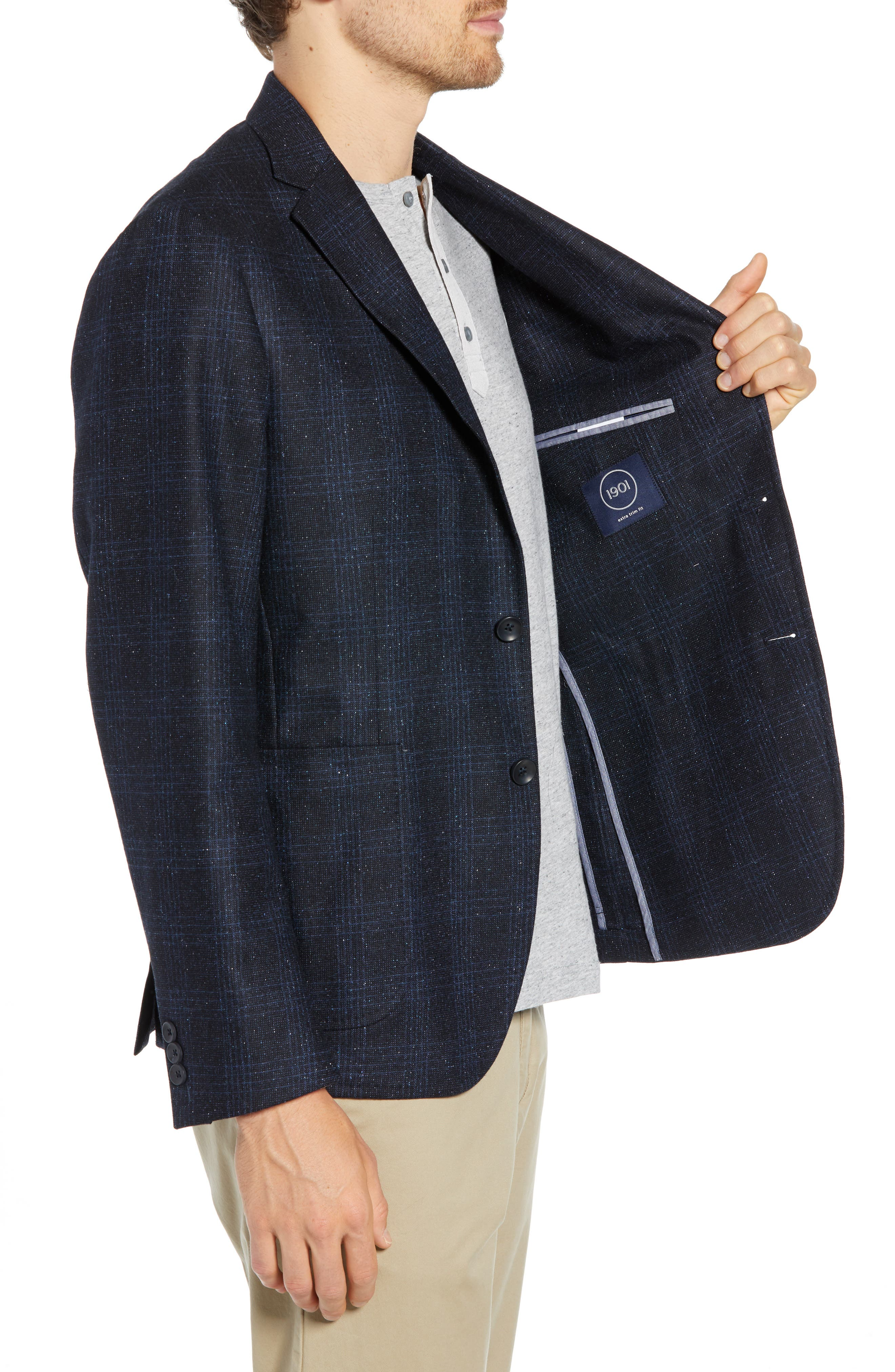 Extra Trim Fit Donegal Plaid Soft Coat,                             Alternate thumbnail 3, color,                             NAVY