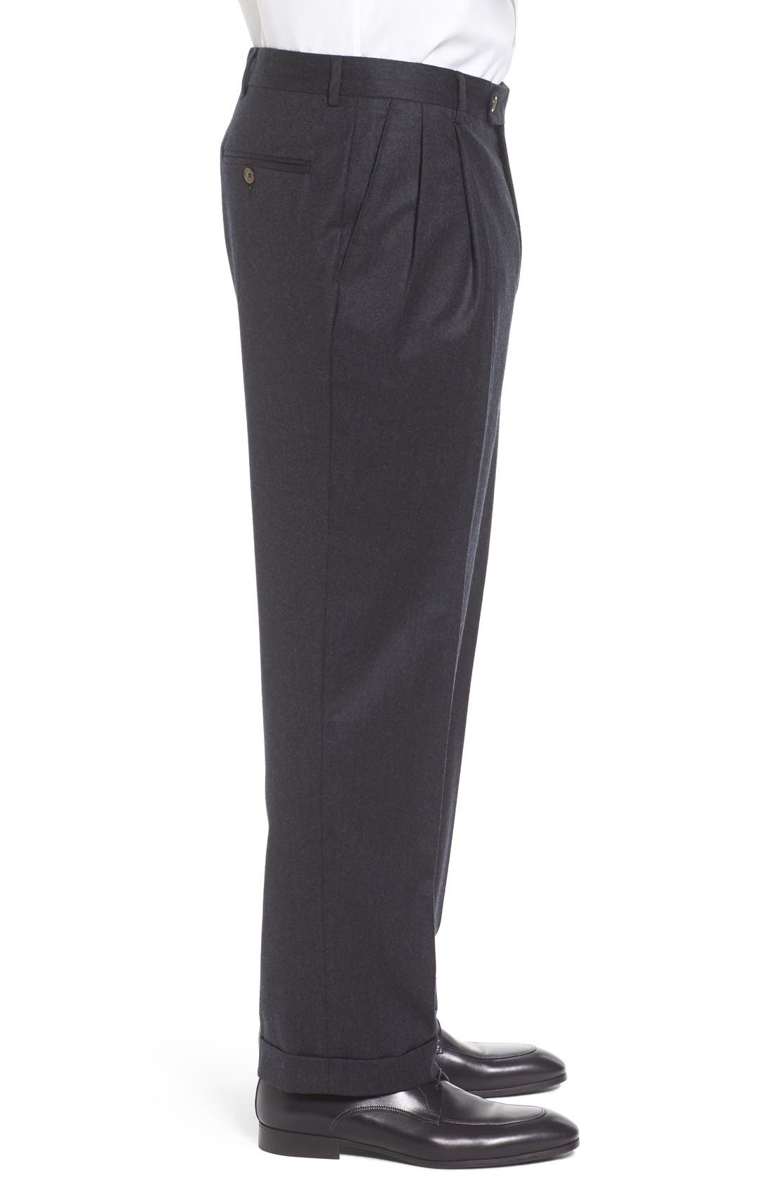Pleated Solid Wool Trousers,                             Alternate thumbnail 4, color,                             021